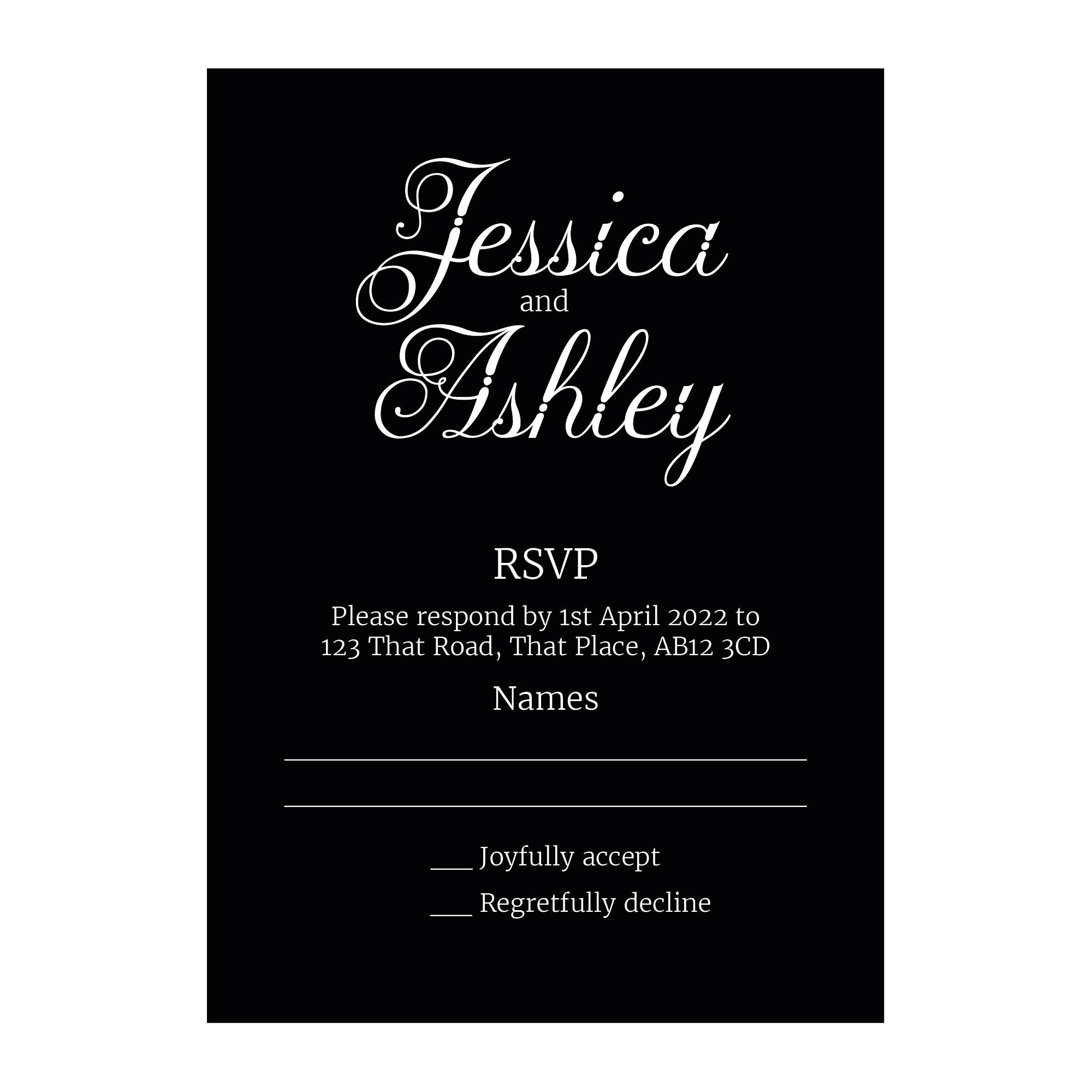 Black with White Ink Classic Swirled Decorative RSVP Cards