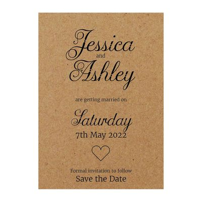 Recycled Brown Kraft Classic Swirled Decorative Save the Date Cards