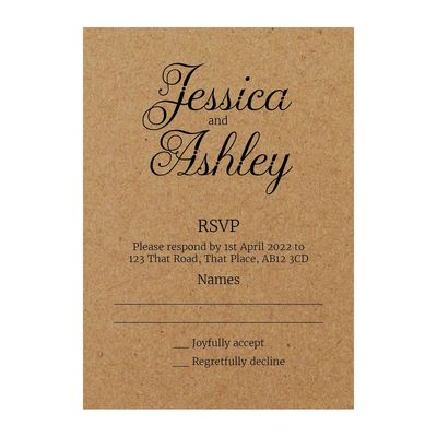 Recycled Brown Kraft Classic Swirled Decorative RSVP Cards