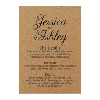 Recycled Brown Kraft Classic Swirled Decorative Guest Information Cards