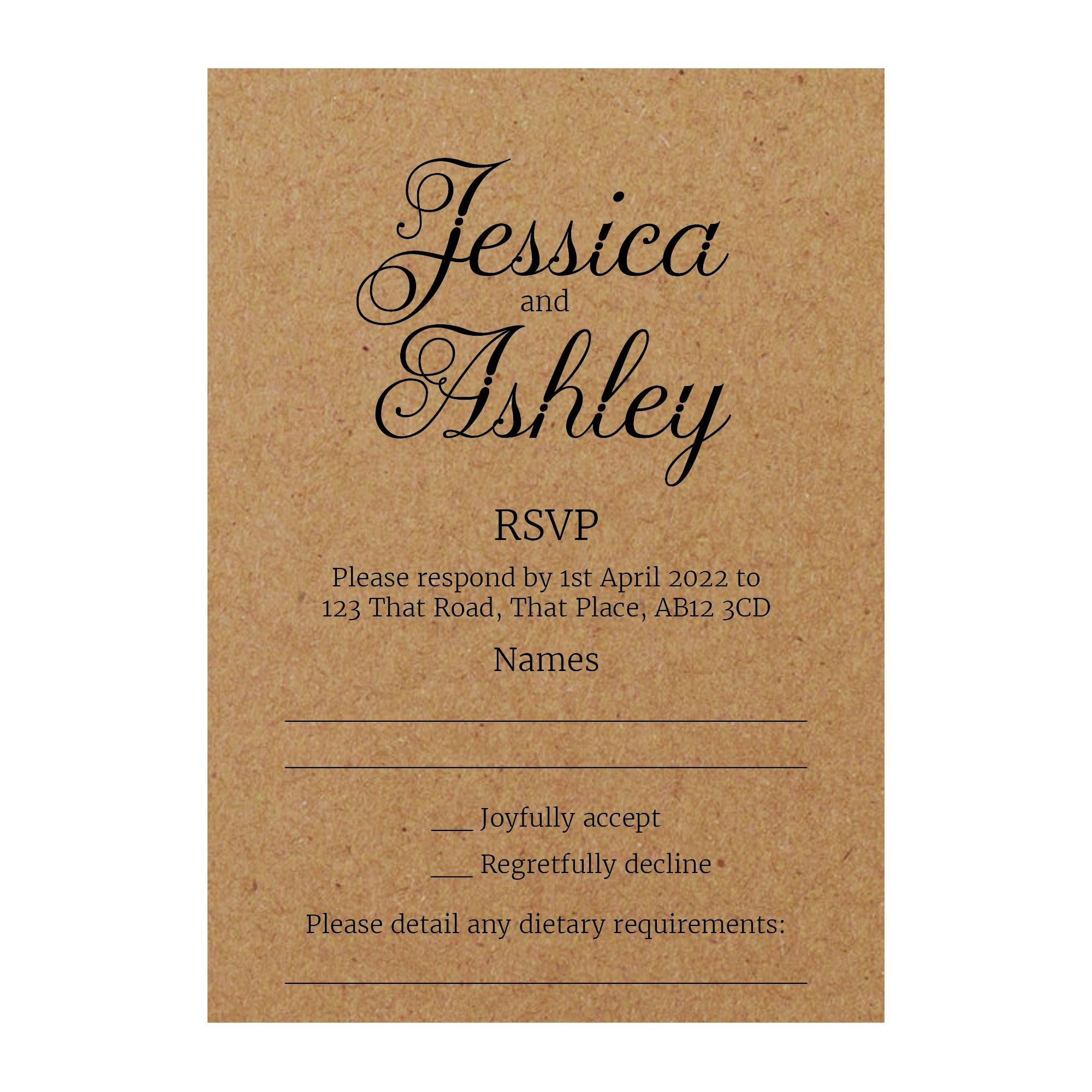 Recycled Brown Kraft Classic Swirled Decorative RSVP Dietary Requirement Cards