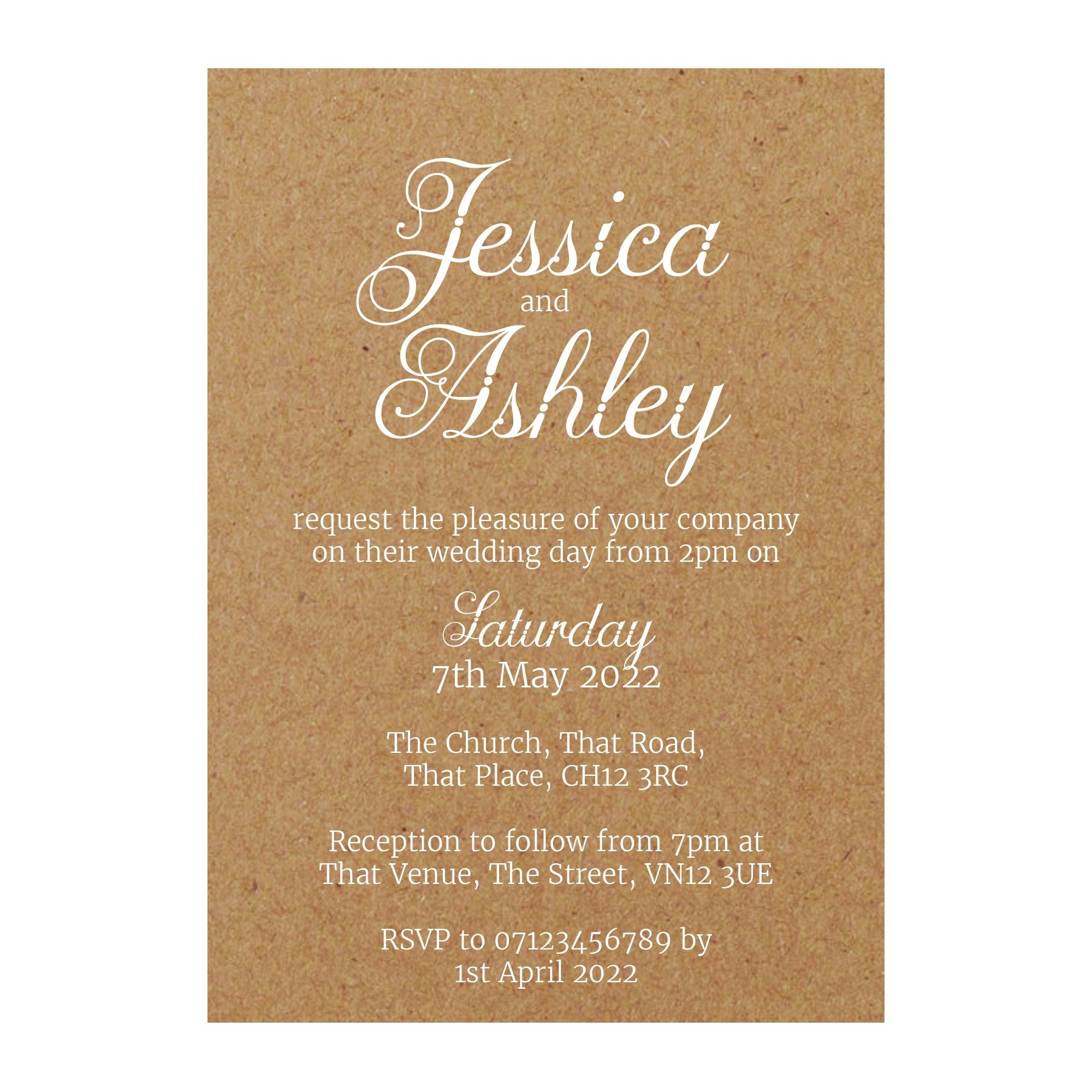 Recycled Brown Kraft with White Ink Classic Swirled Decorative Wedding Invitations