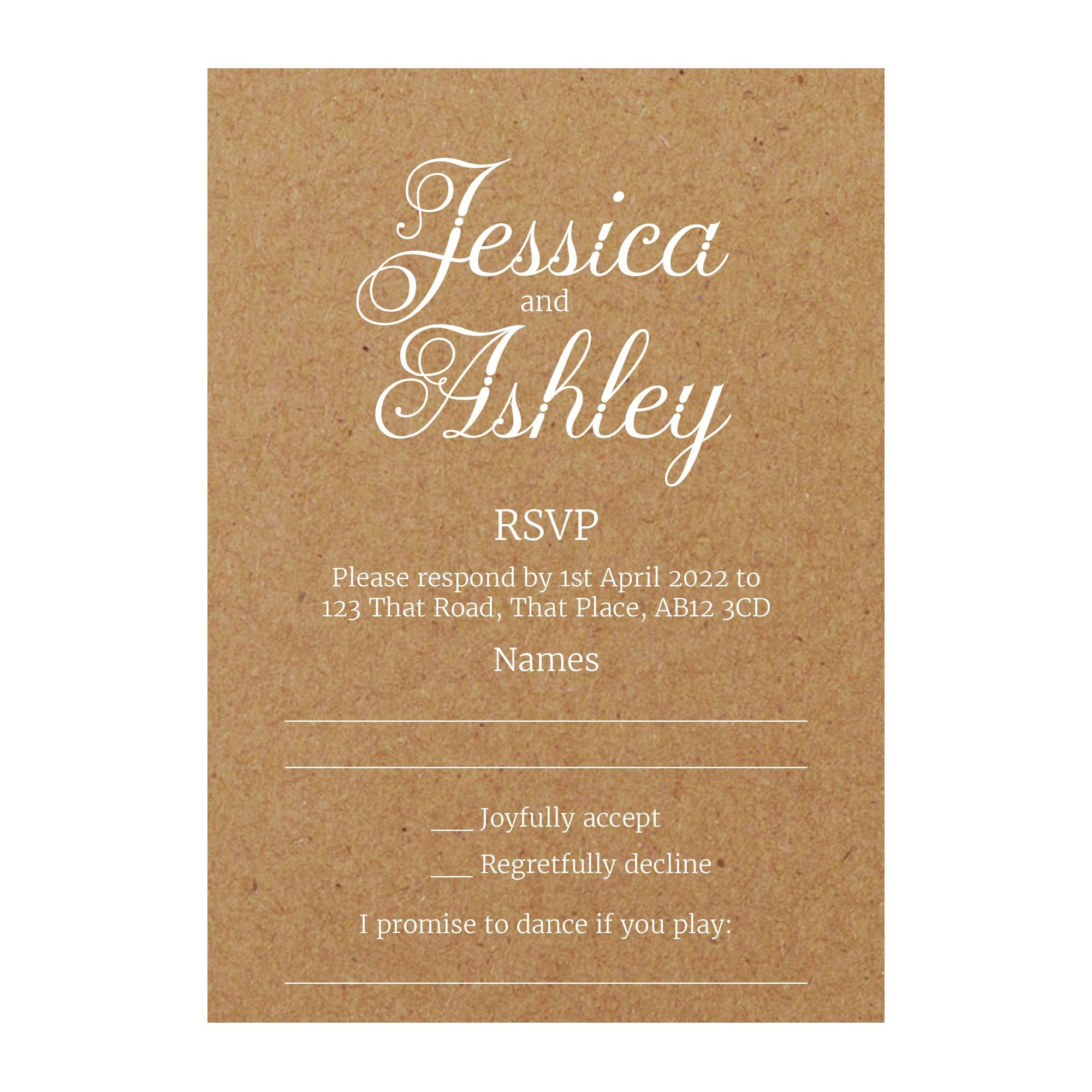 Recycled Brown Kraft with White Ink Classic Swirled Decorative RSVP Song Request Cards
