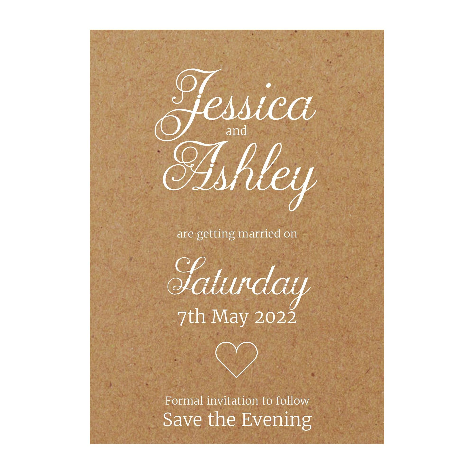 Recycled Brown Kraft with White Ink Classic Swirled Decorative Save the Evening Cards