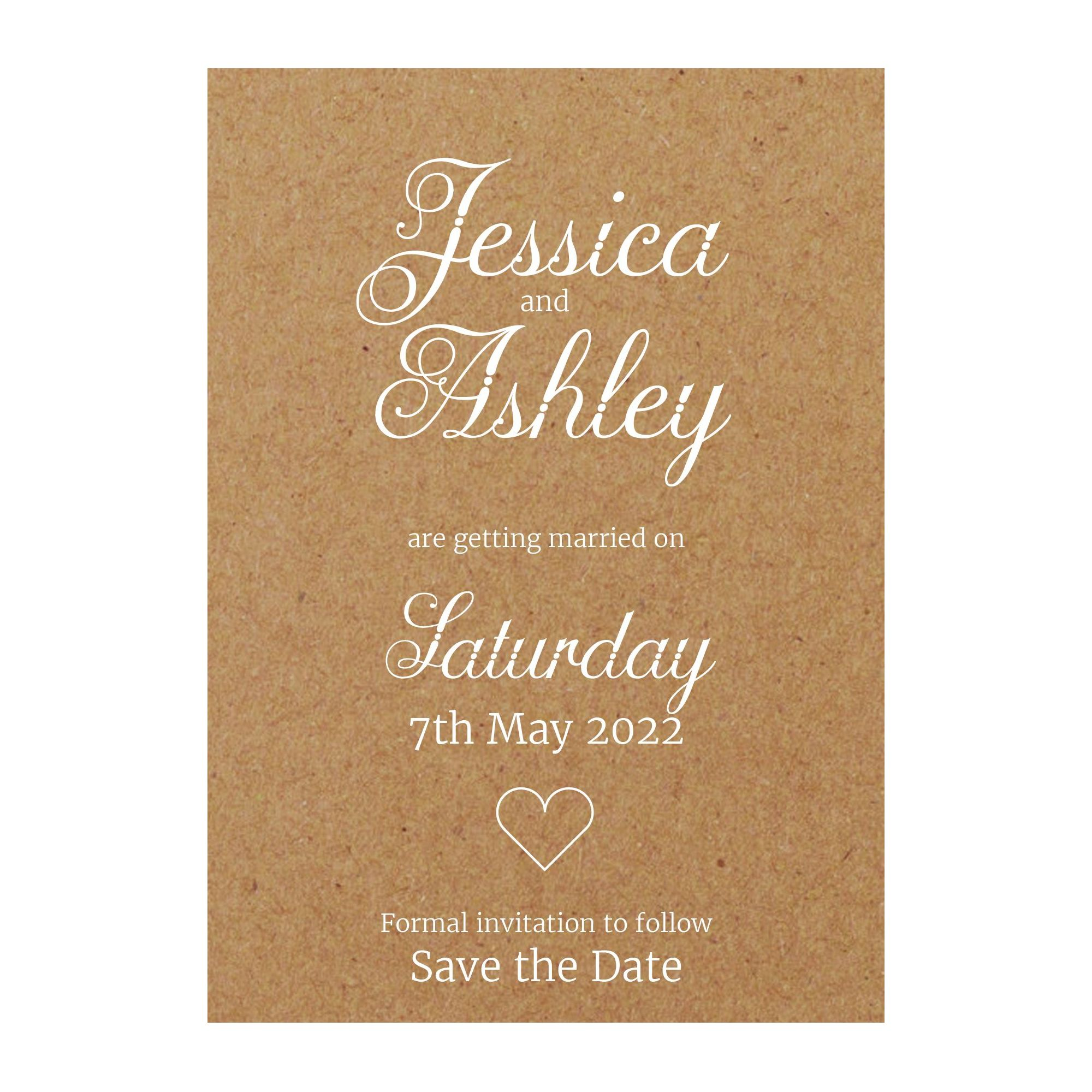 Recycled Brown Kraft with White Ink Classic Swirled Decorative Save the Date Cards