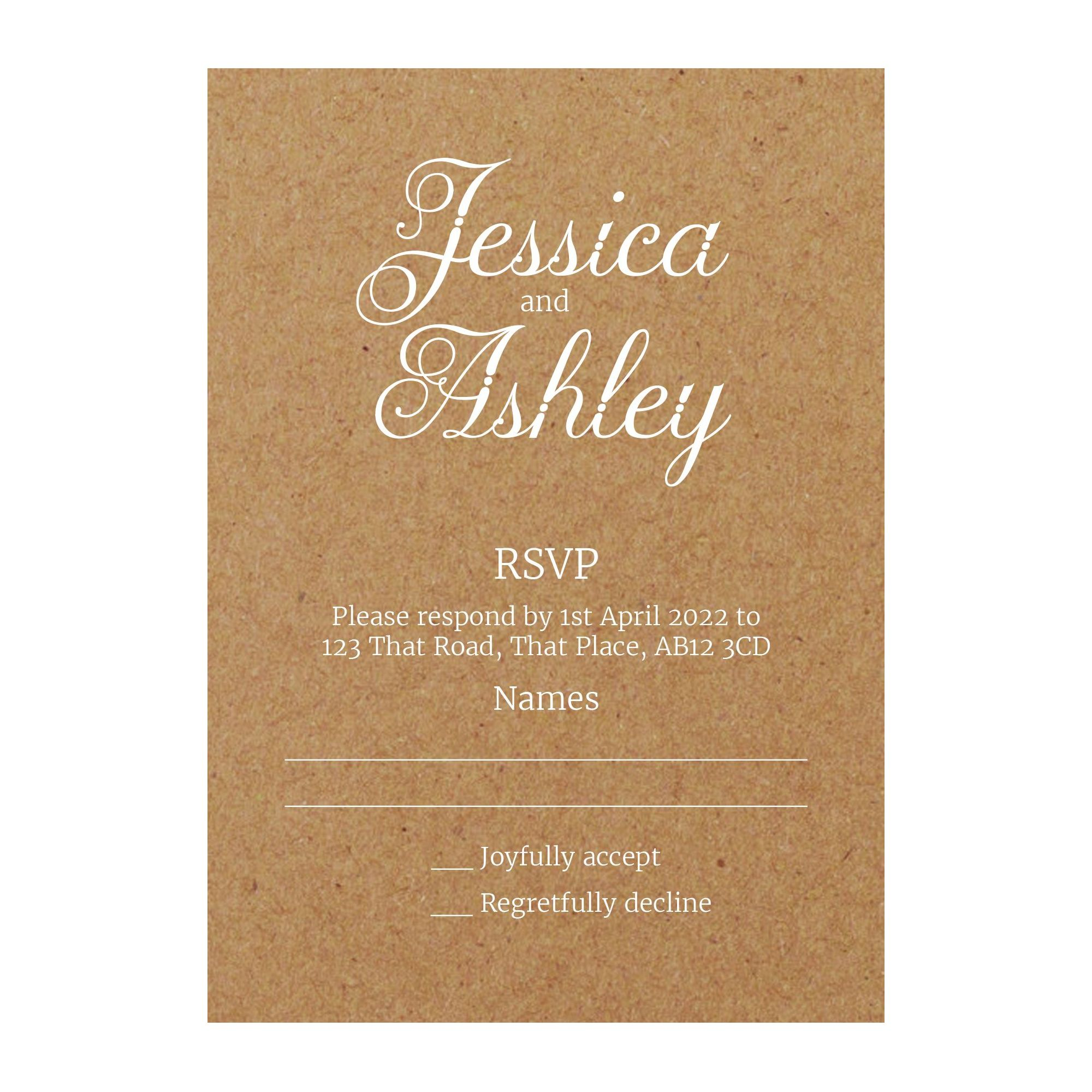 Recycled Brown Kraft with White Ink Classic Swirled Decorative RSVP Cards