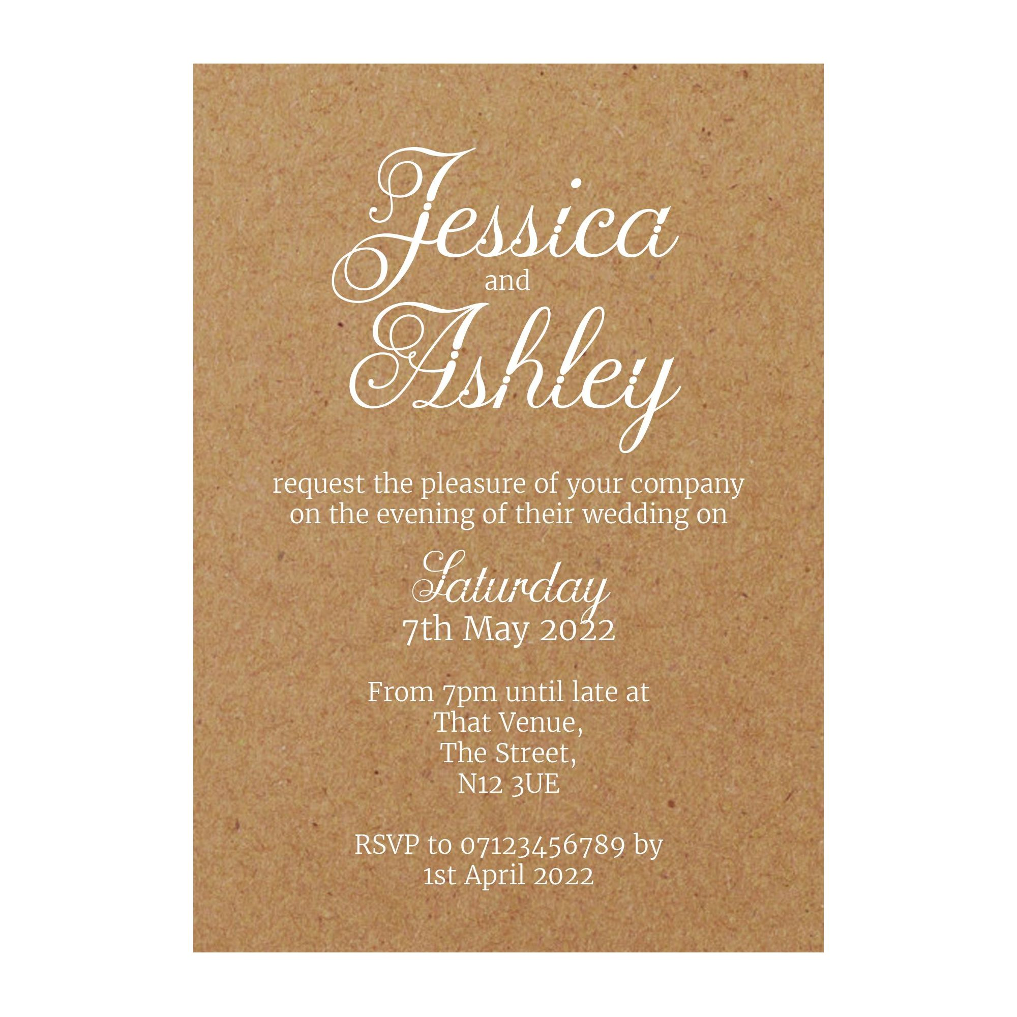 Recycled Brown Kraft with White Ink Classic Swirled Decorative Reception Invitations