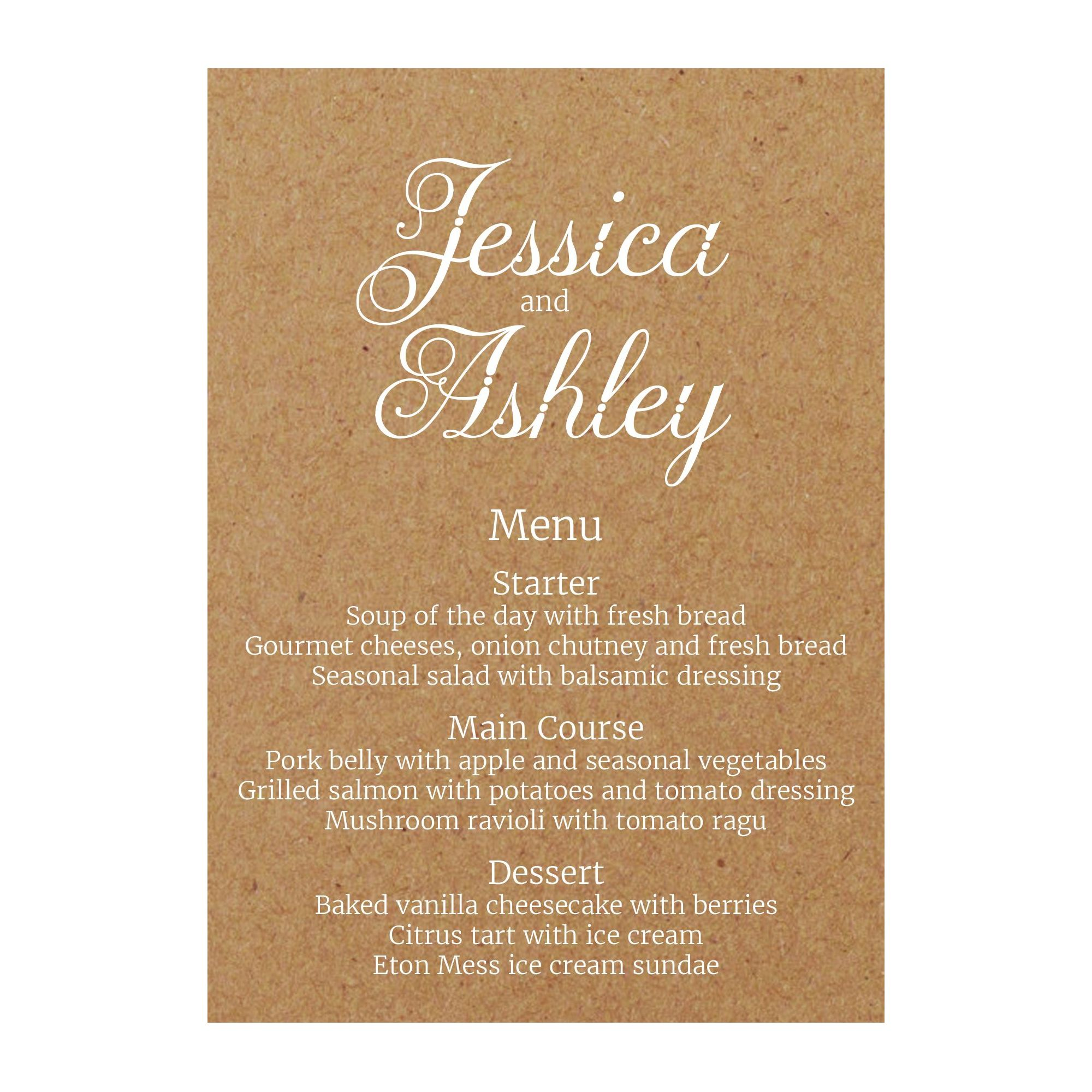 Recycled Brown Kraft with White Ink Classic Swirled Decorative Menu Cards