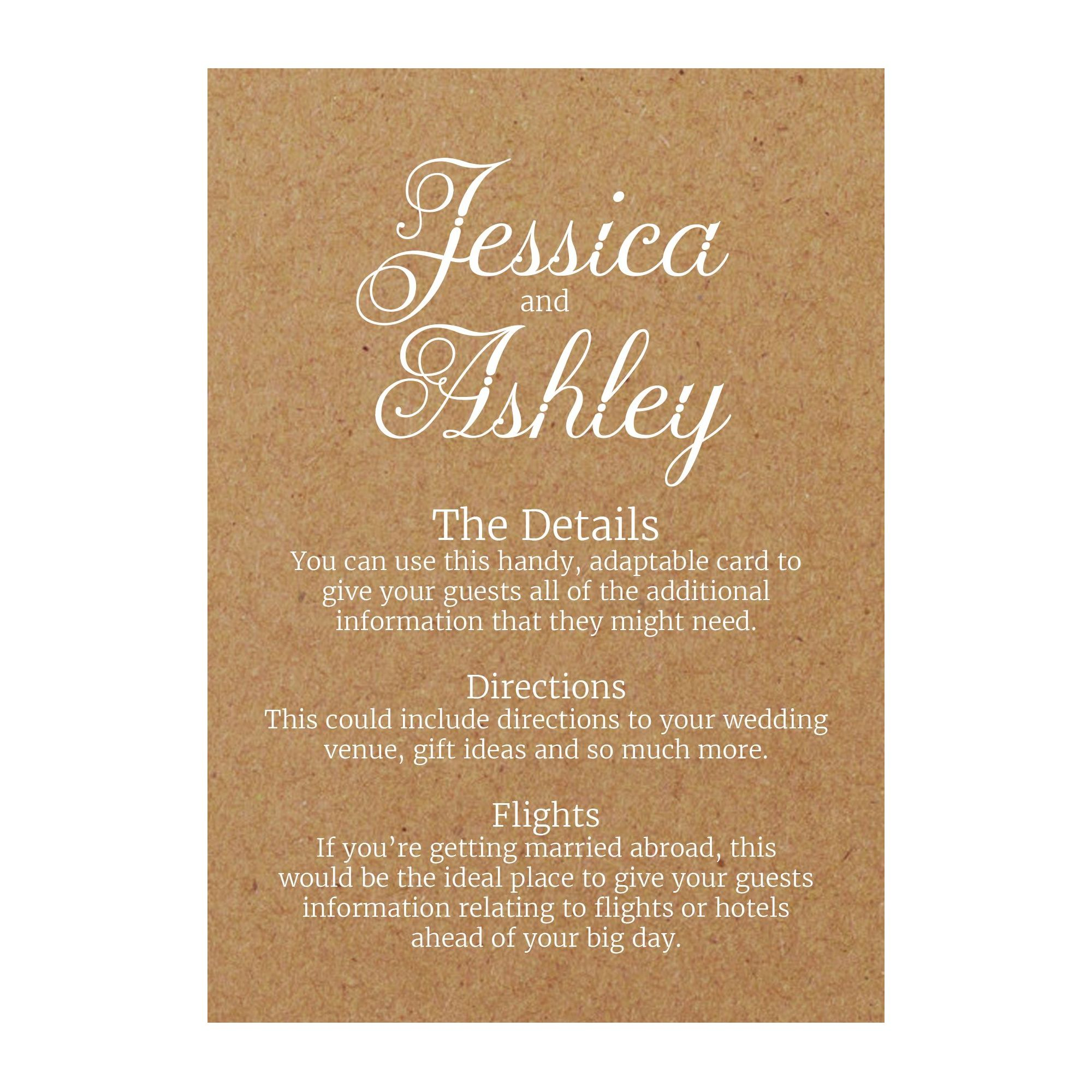Recycled Brown Kraft with White Ink Classic Swirled Decorative Guest Information Cards