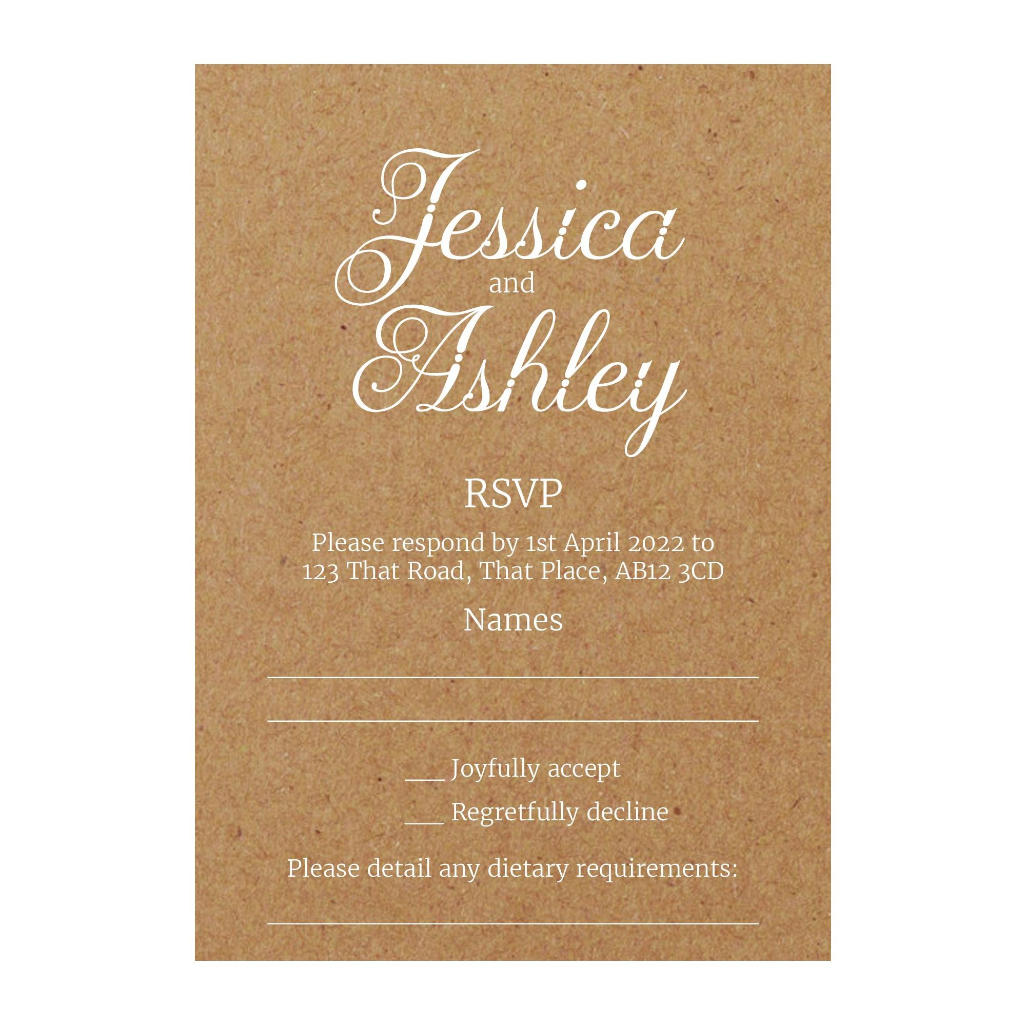 Recycled Brown Kraft with White Ink Classic Swirled Decorative RSVP Dietary Requirement Cards