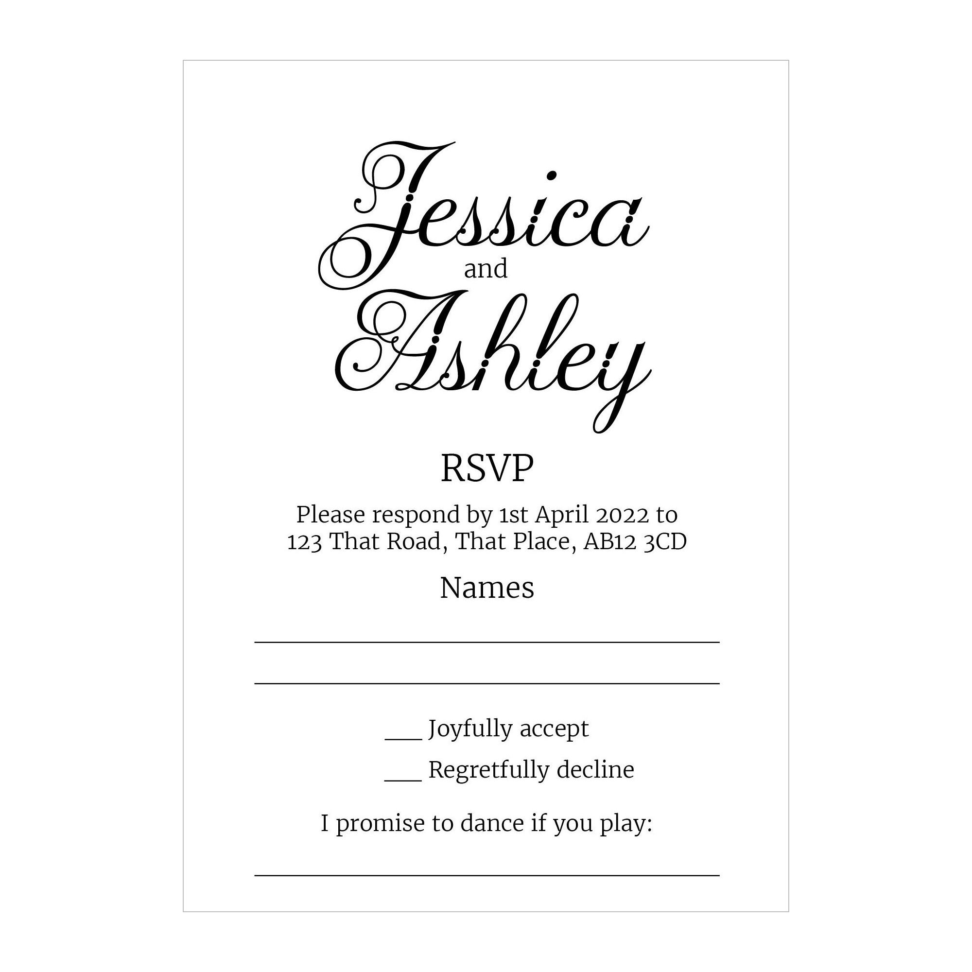 Recycled White Classic Swirled Decorative RSVP Song Request Cards