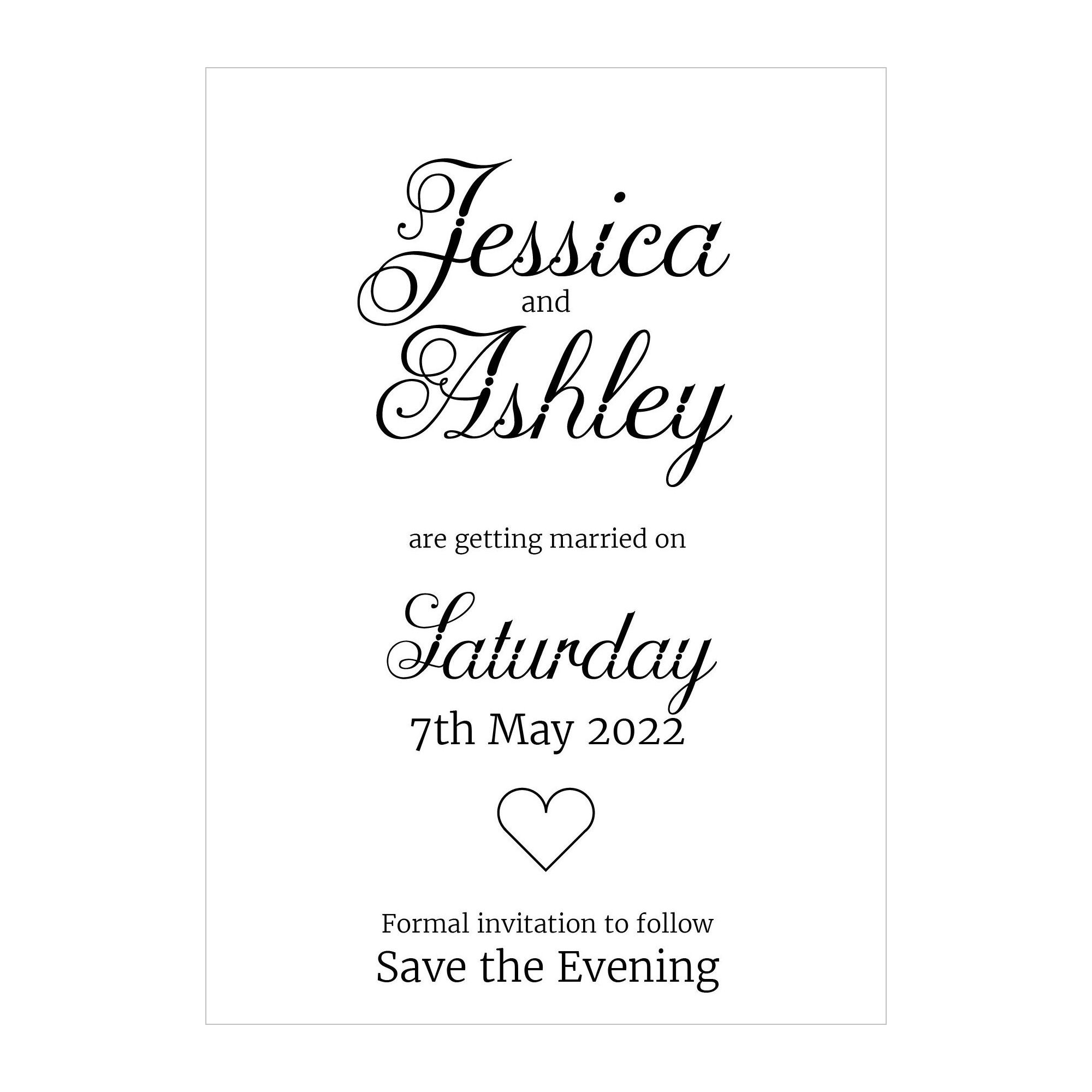 Recycled White Classic Swirled Decorative Save the Evening Cards
