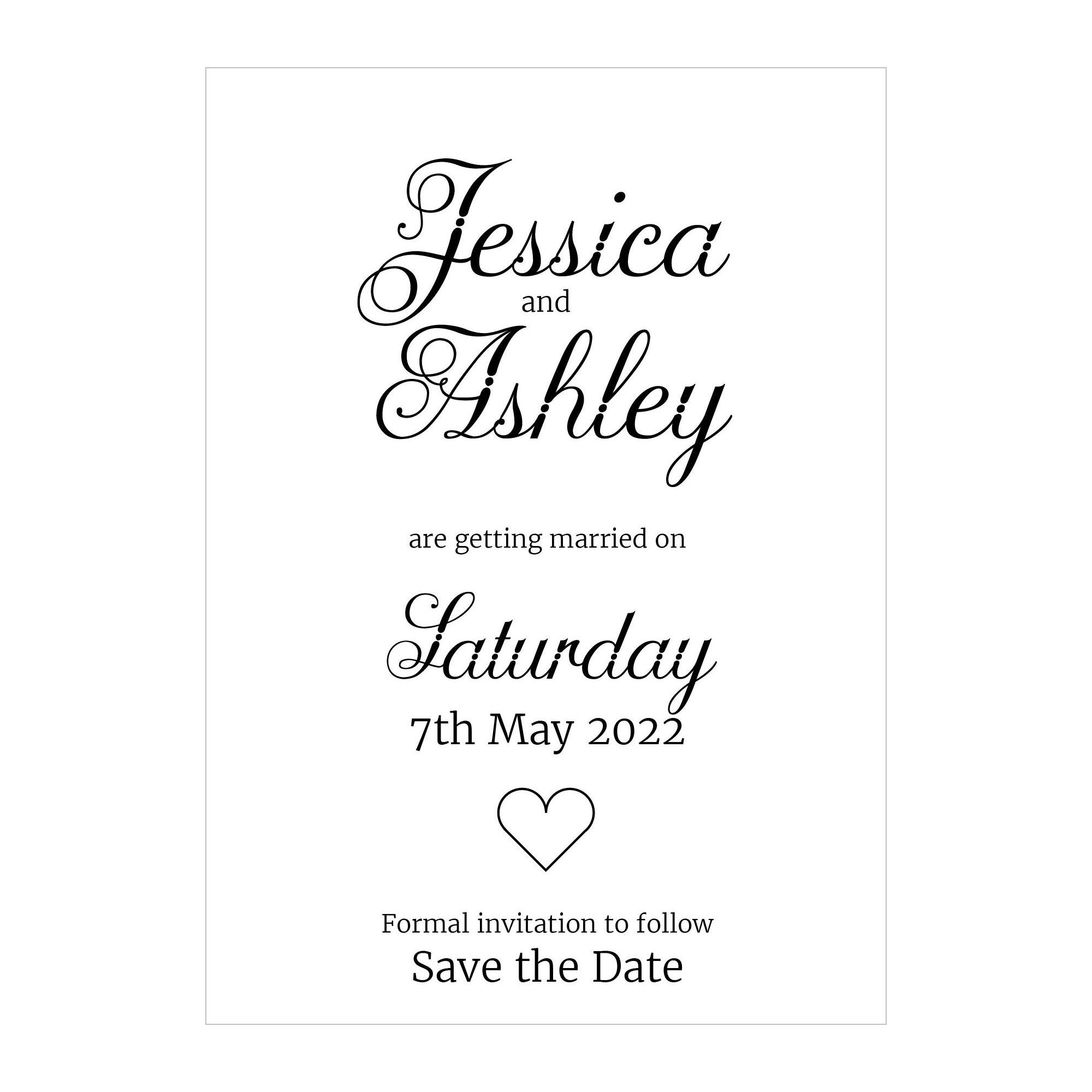 Recycled White Classic Swirled Decorative Save the Date Cards