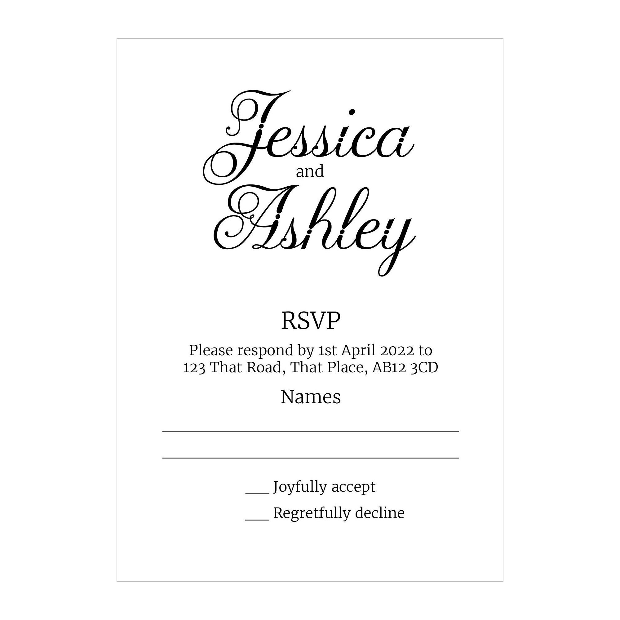 Recycled White Classic Swirled Decorative RSVP Cards