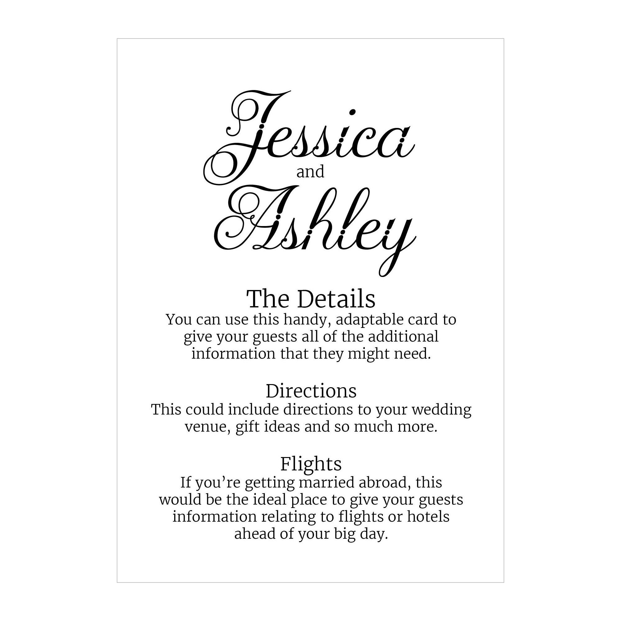 Recycled White Classic Swirled Decorative Guest Information Cards