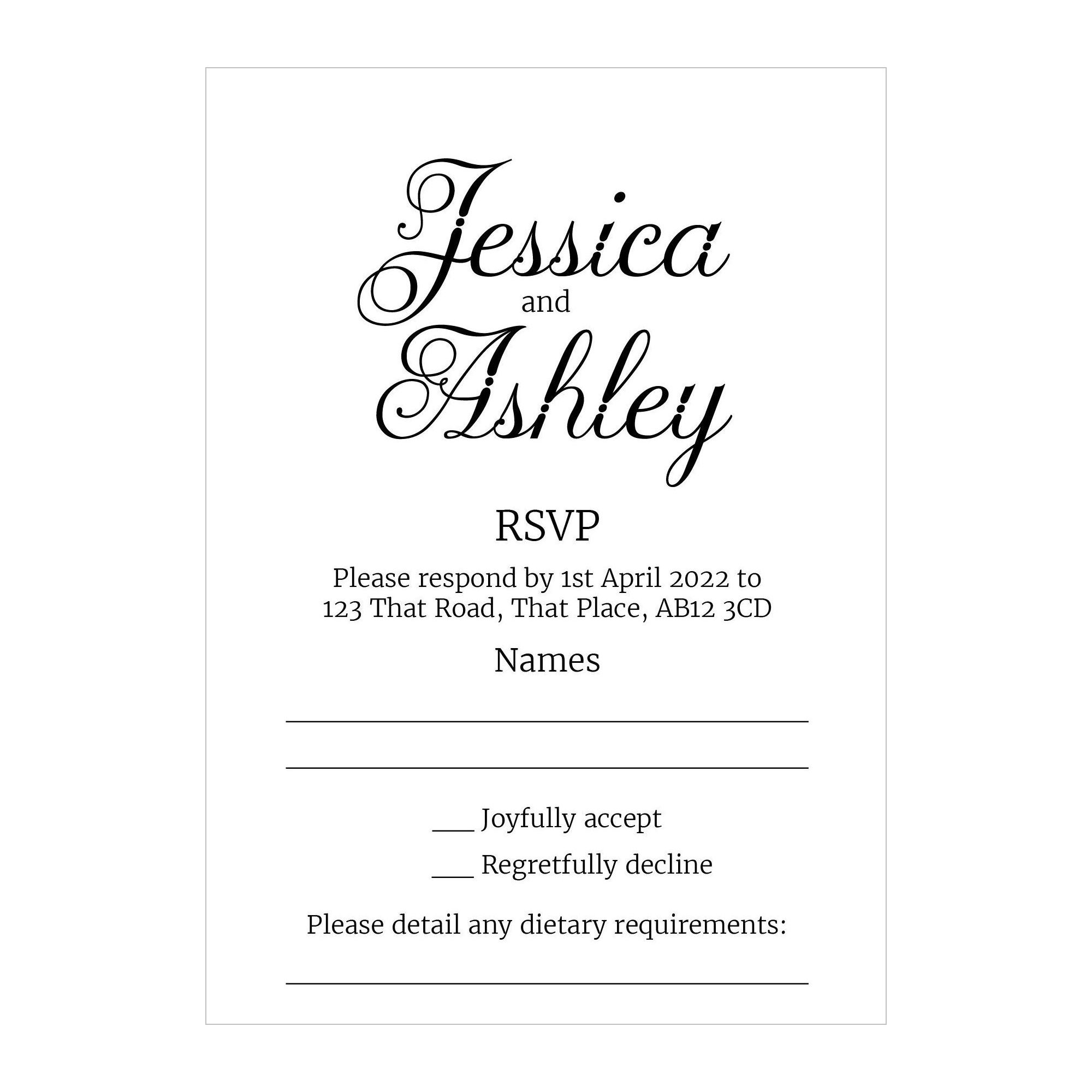 Recycled White Classic Swirled Decorative RSVP Dietary Requirement Cards