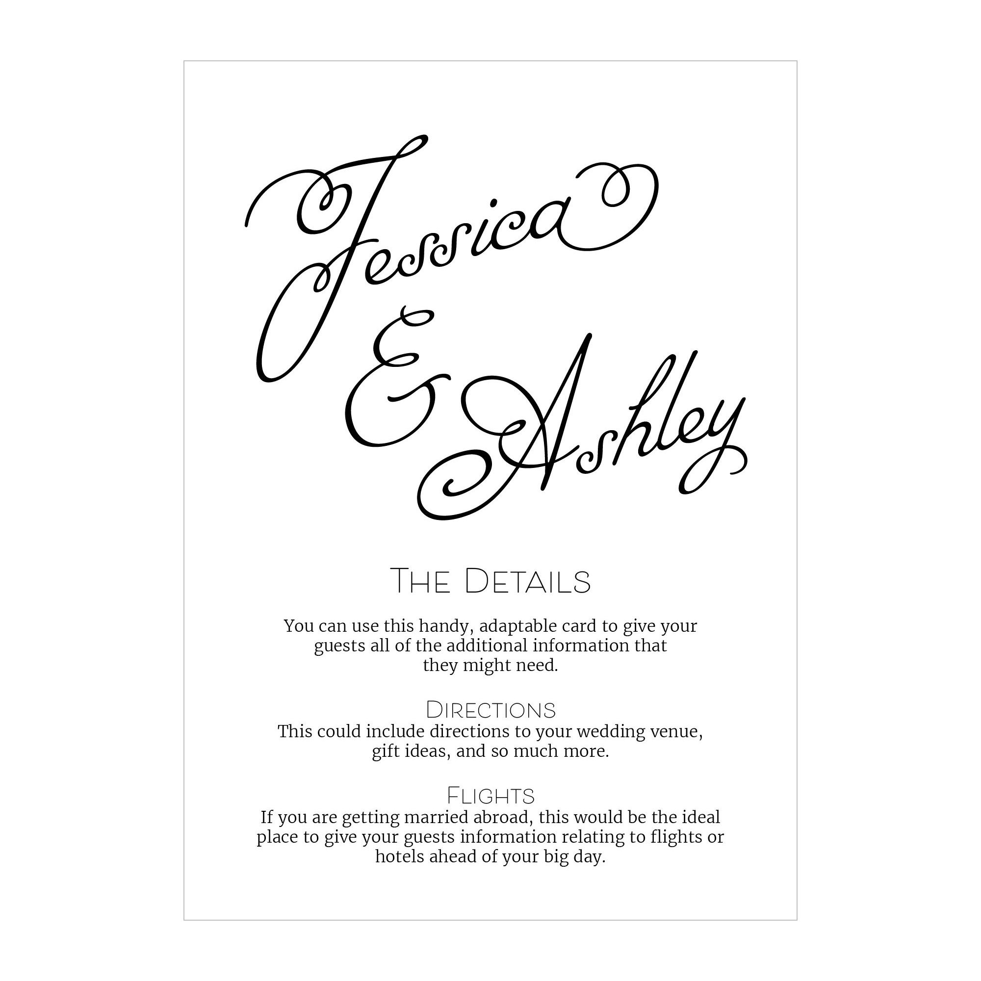 Textured White Classic Swirled Name Guest Information Cards