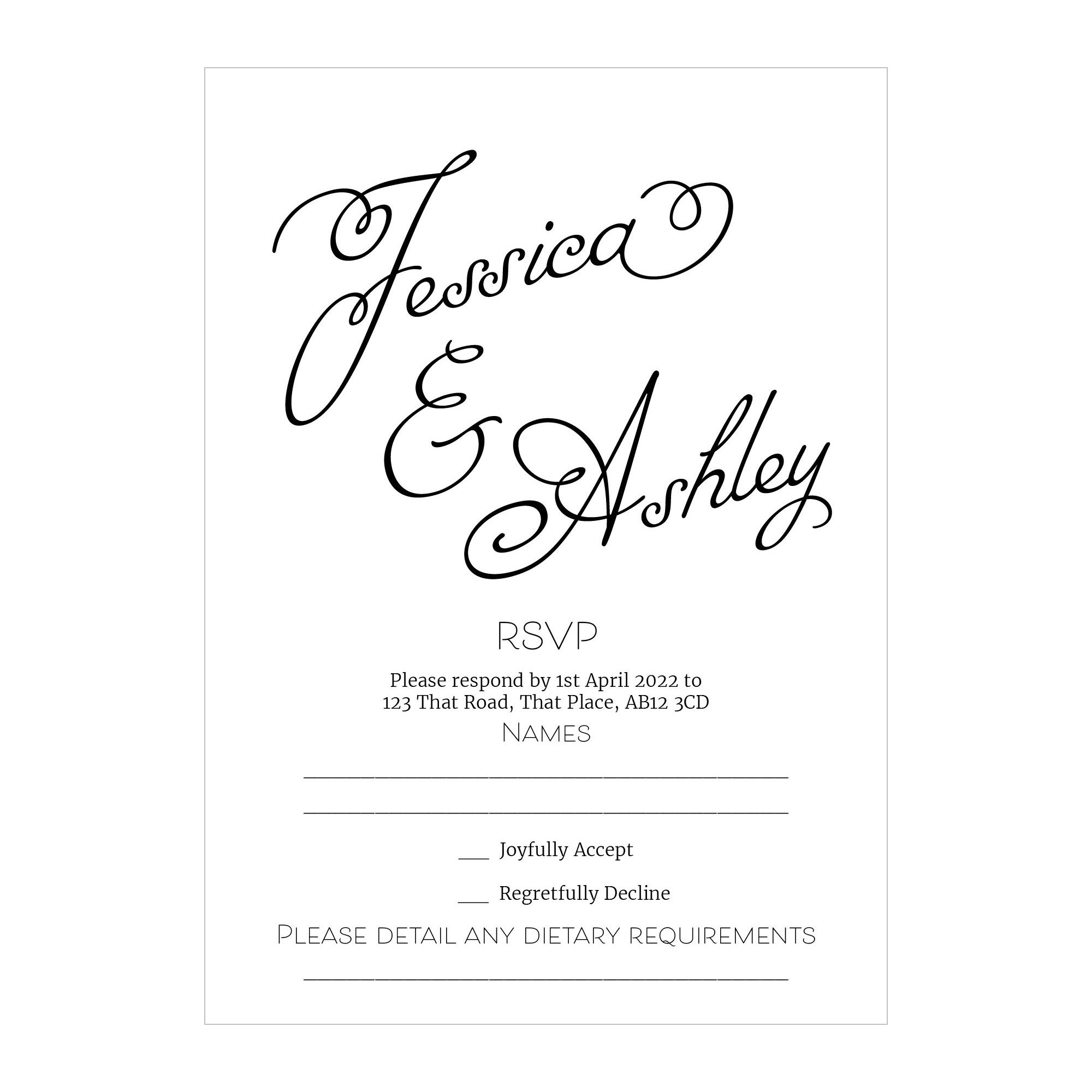 Textured White Classic Swirled Name RSVP Dietary Requirement Cards