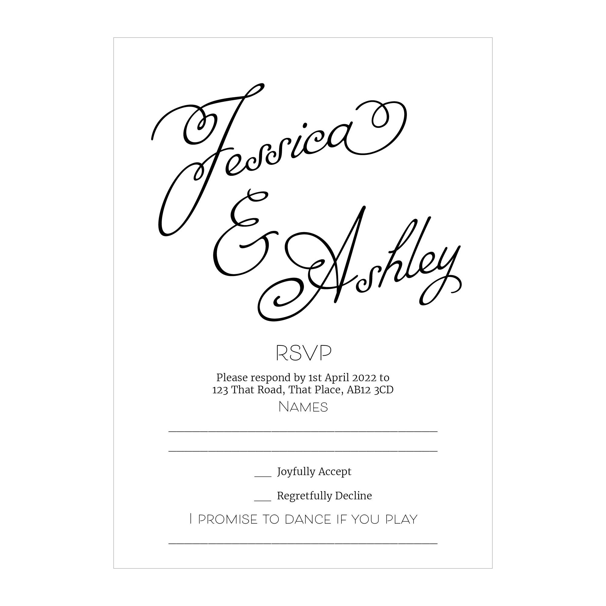 Textured White Classic Swirled Name RSVP Song Request Cards