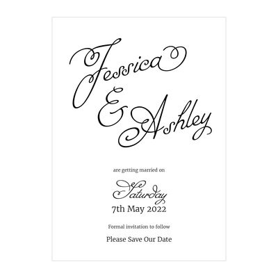 Recycled White Classic Swirled Name Save the Date Cards