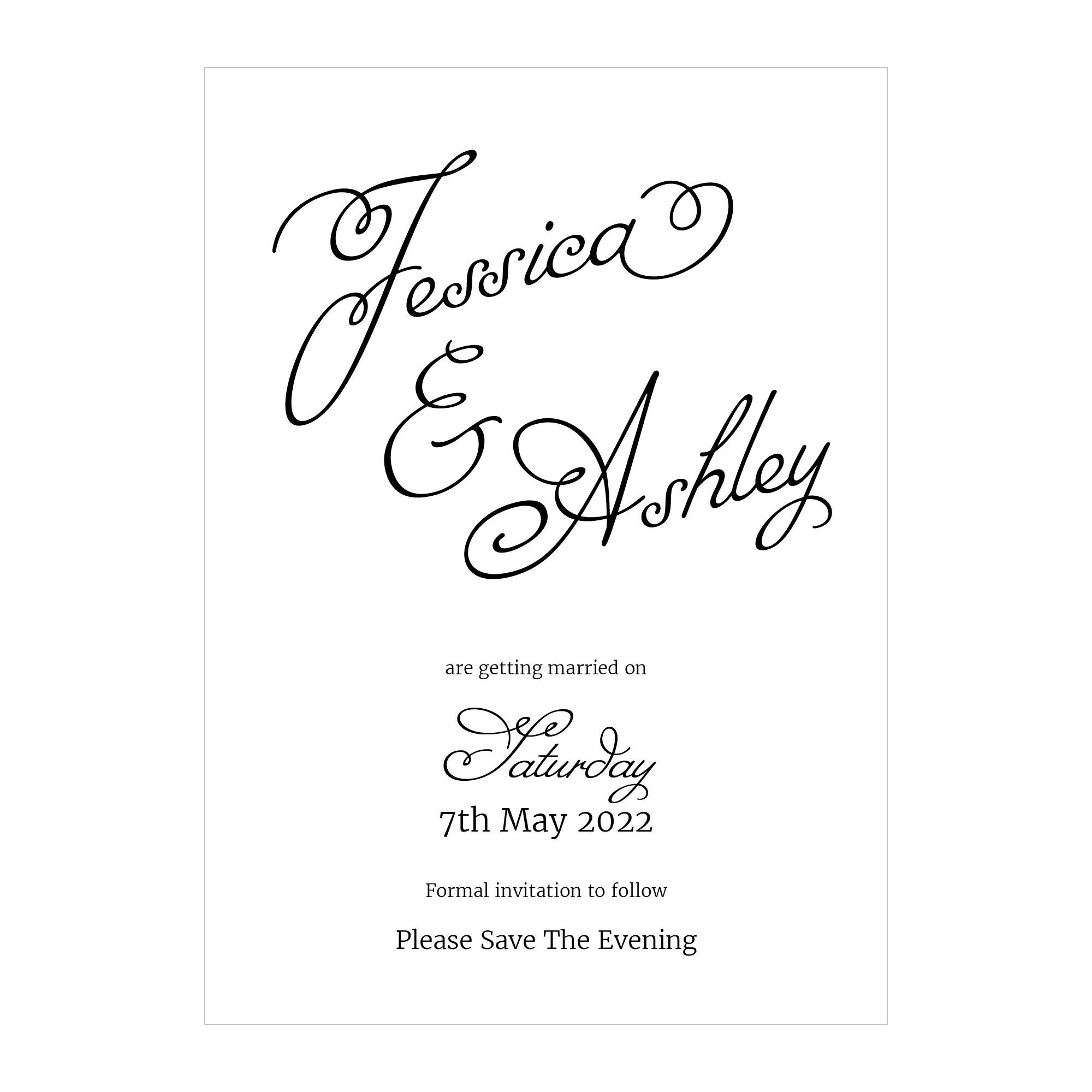 Textured White Classic Swirled Name Save the Evening Cards