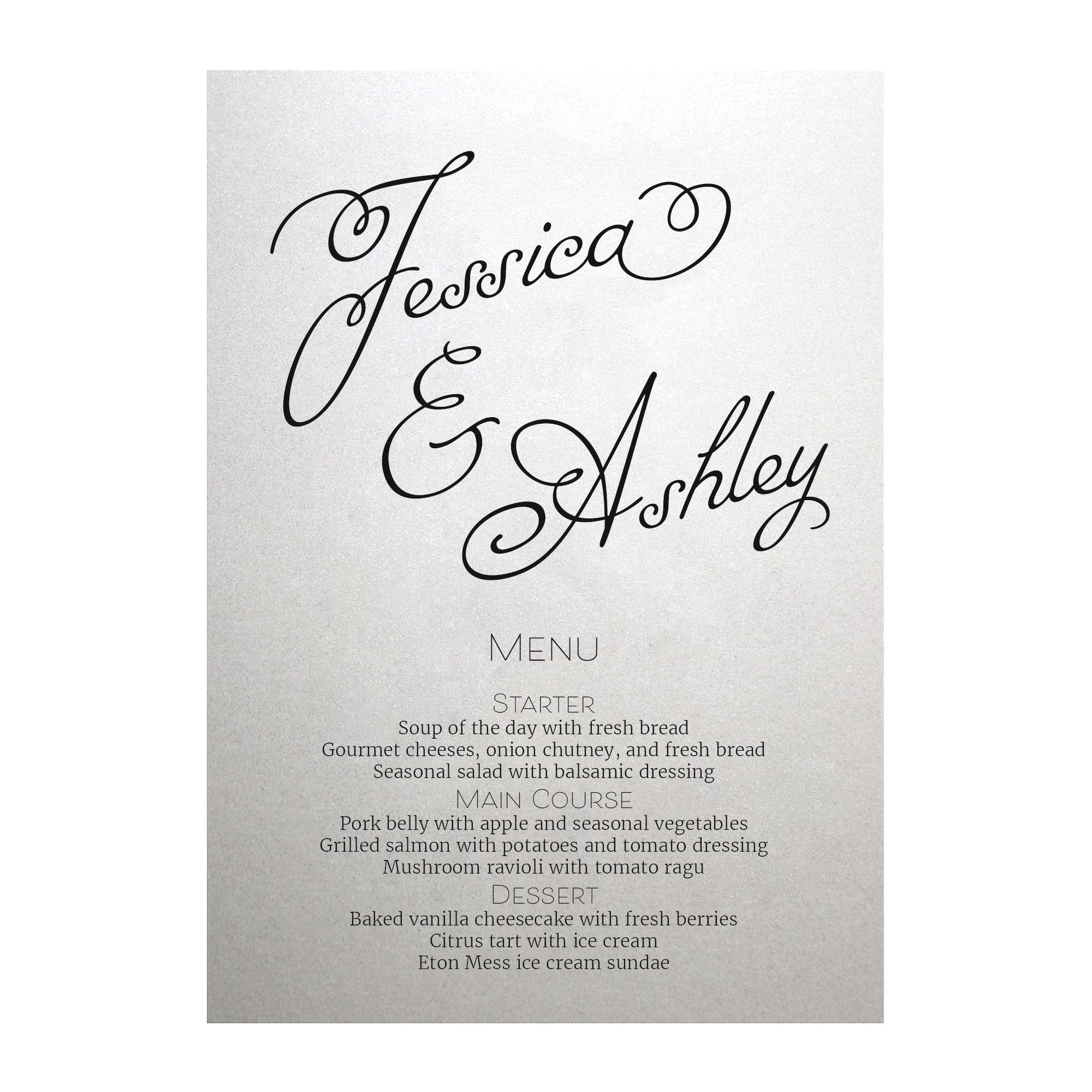 Shimmer Arctic White Classic Swirled Name Menu Cards