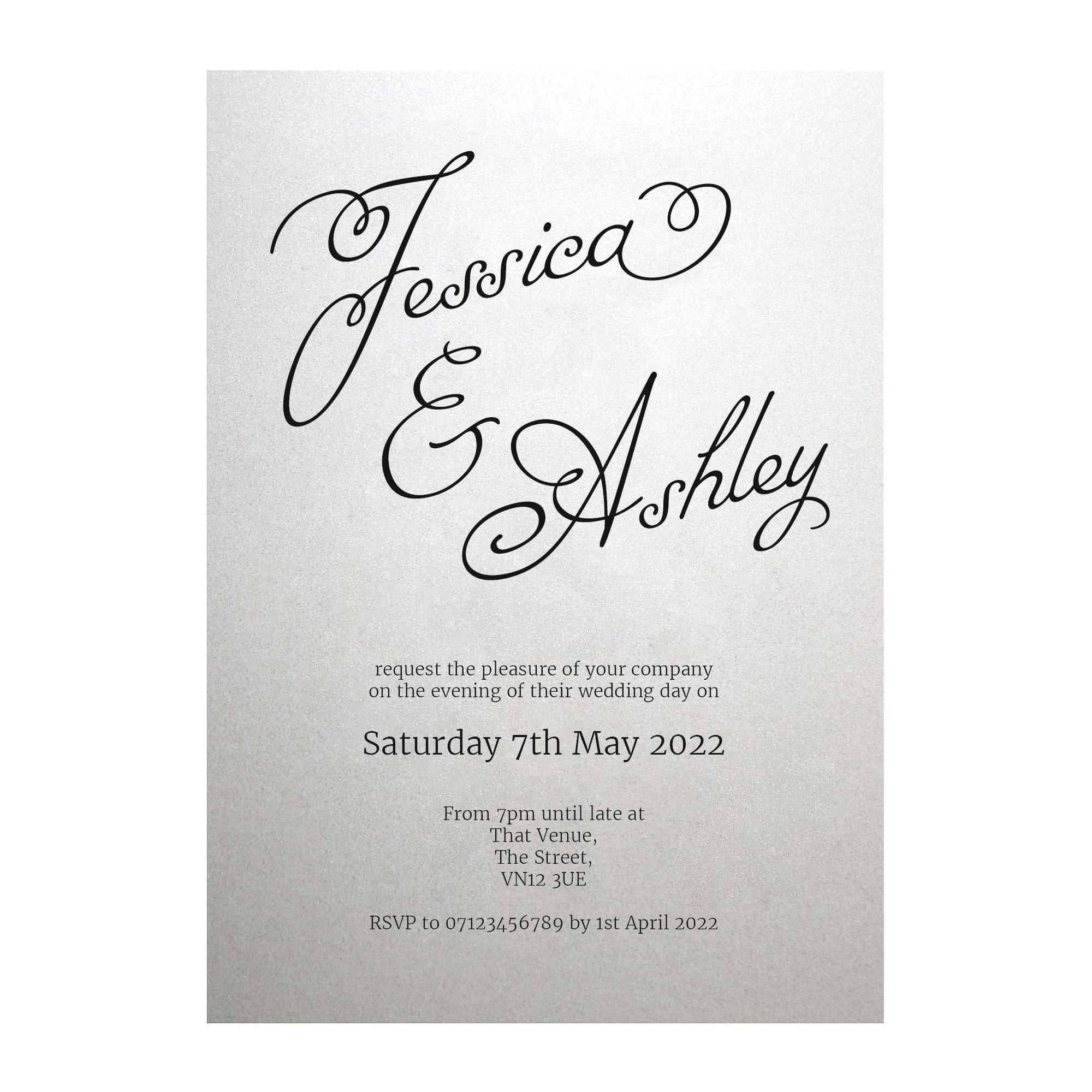 Shimmer Arctic White Classic Swirled Name Reception Invitations