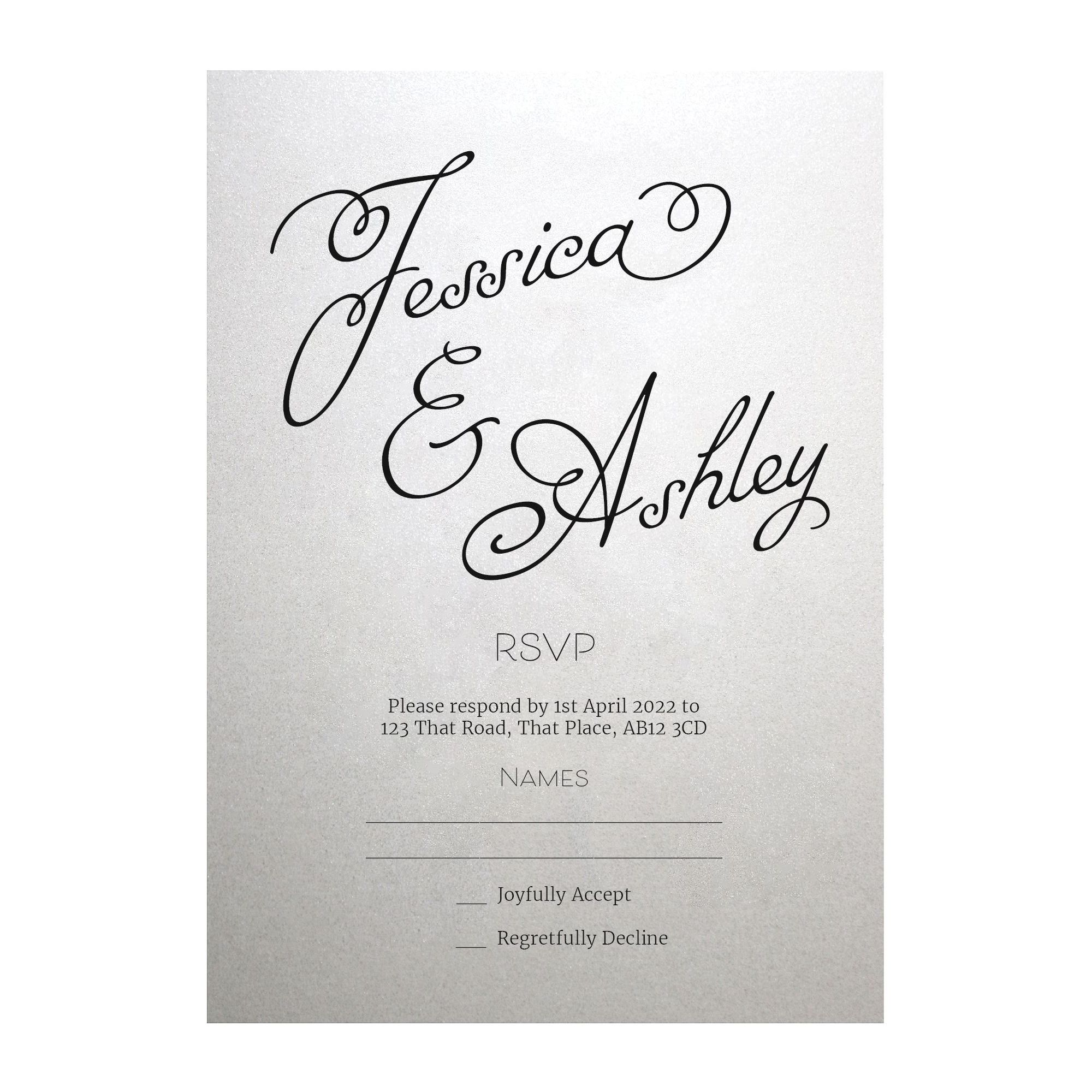 Shimmer Arctic White Classic Swirled Name RSVP Cards