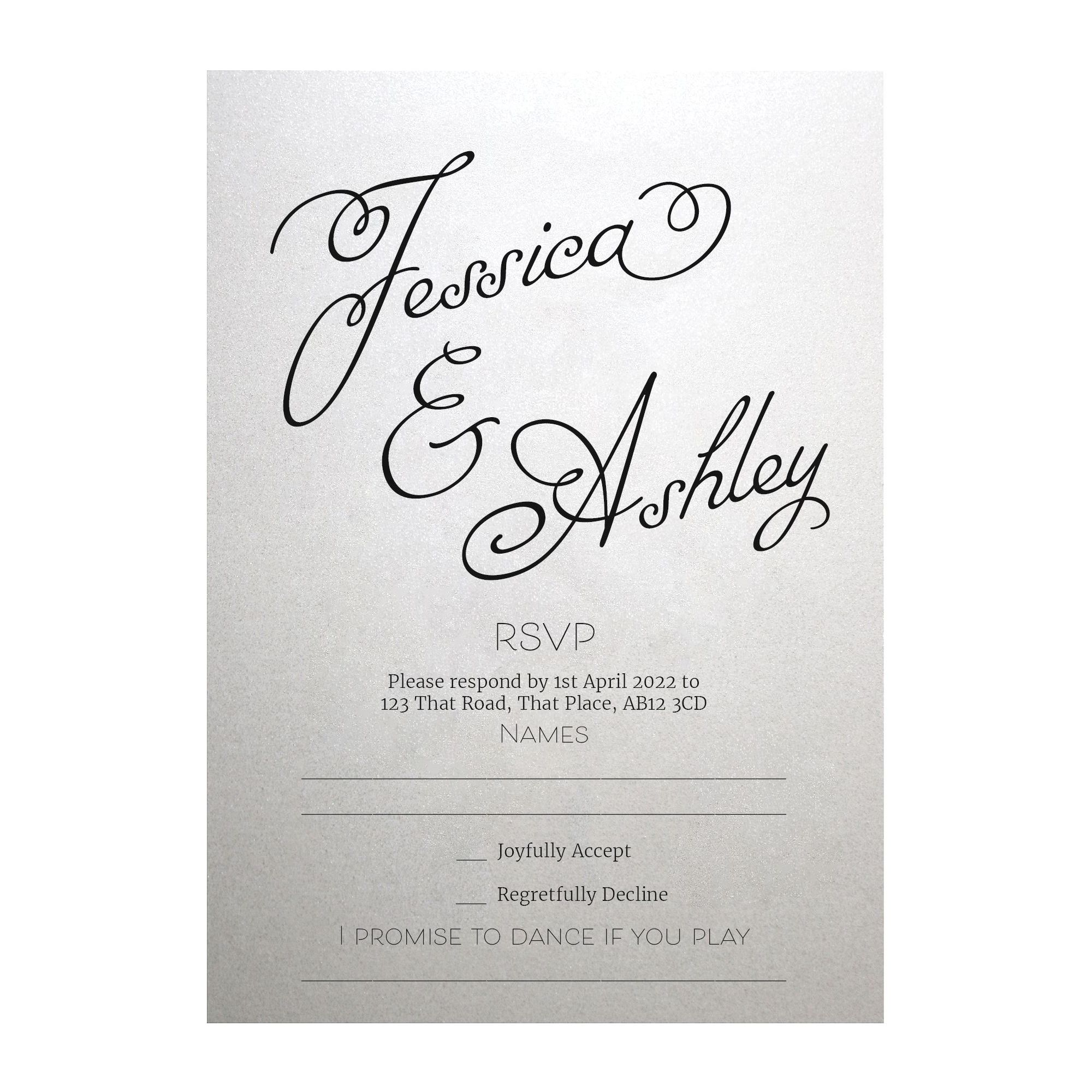 Shimmer Arctic White Classic Swirled Name RSVP Song Request Cards