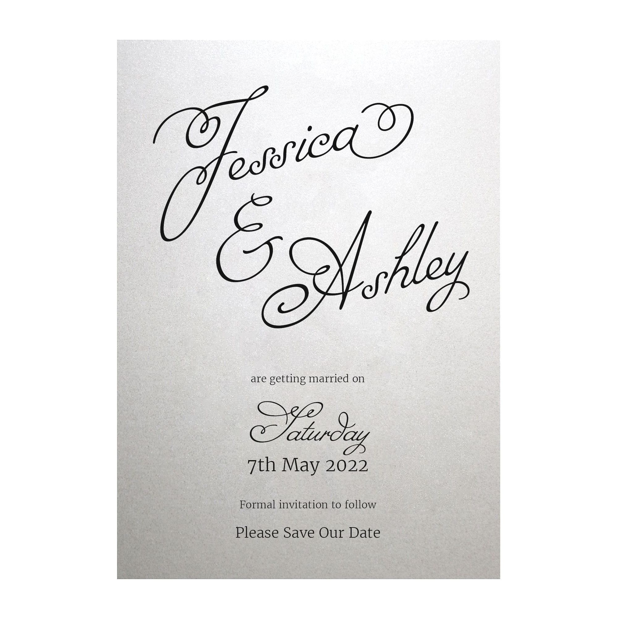 Shimmer Arctic White Classic Swirled Name Save the Date Cards