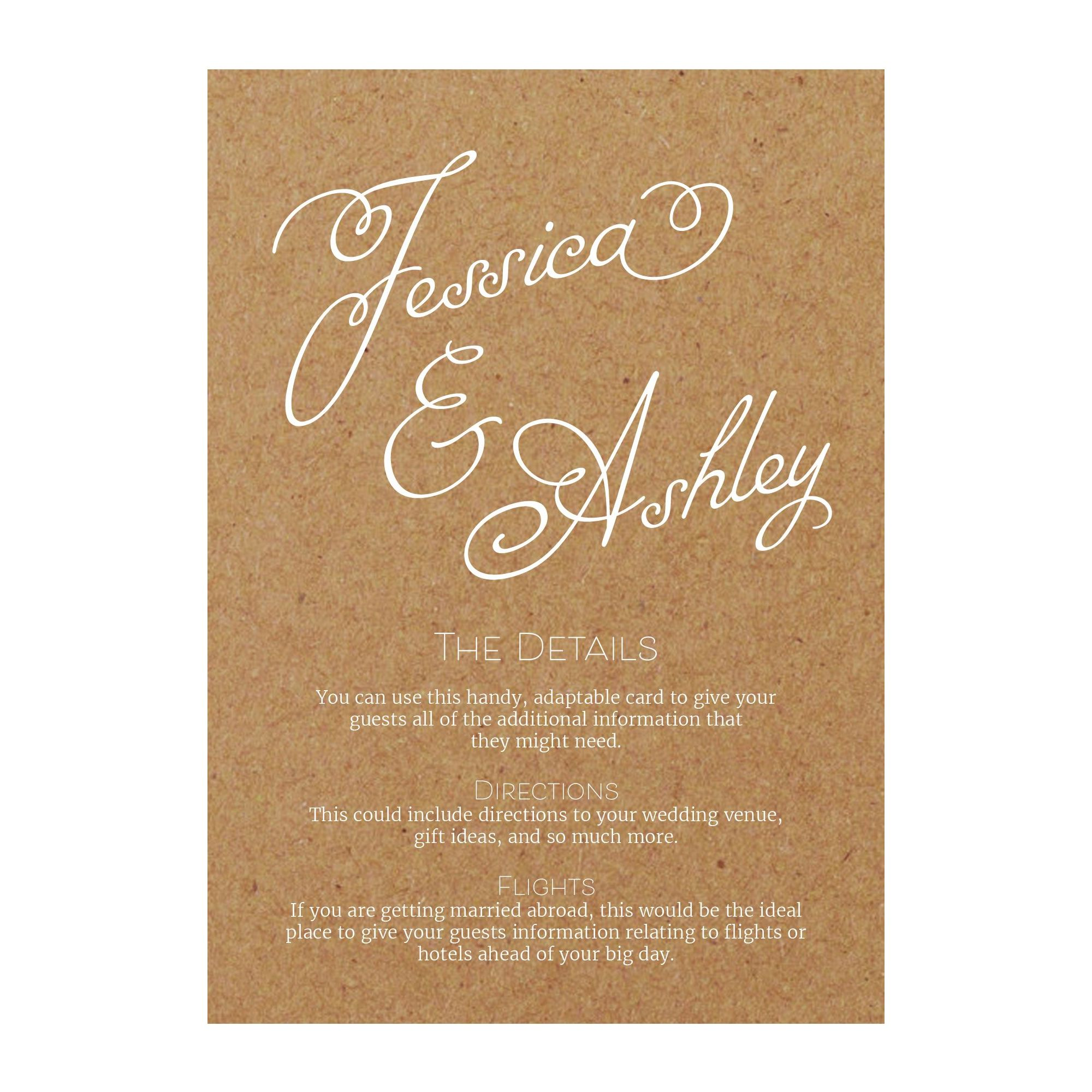 Recycled Brown Kraft with White Ink Classic Swirled Name Guest Information Cards