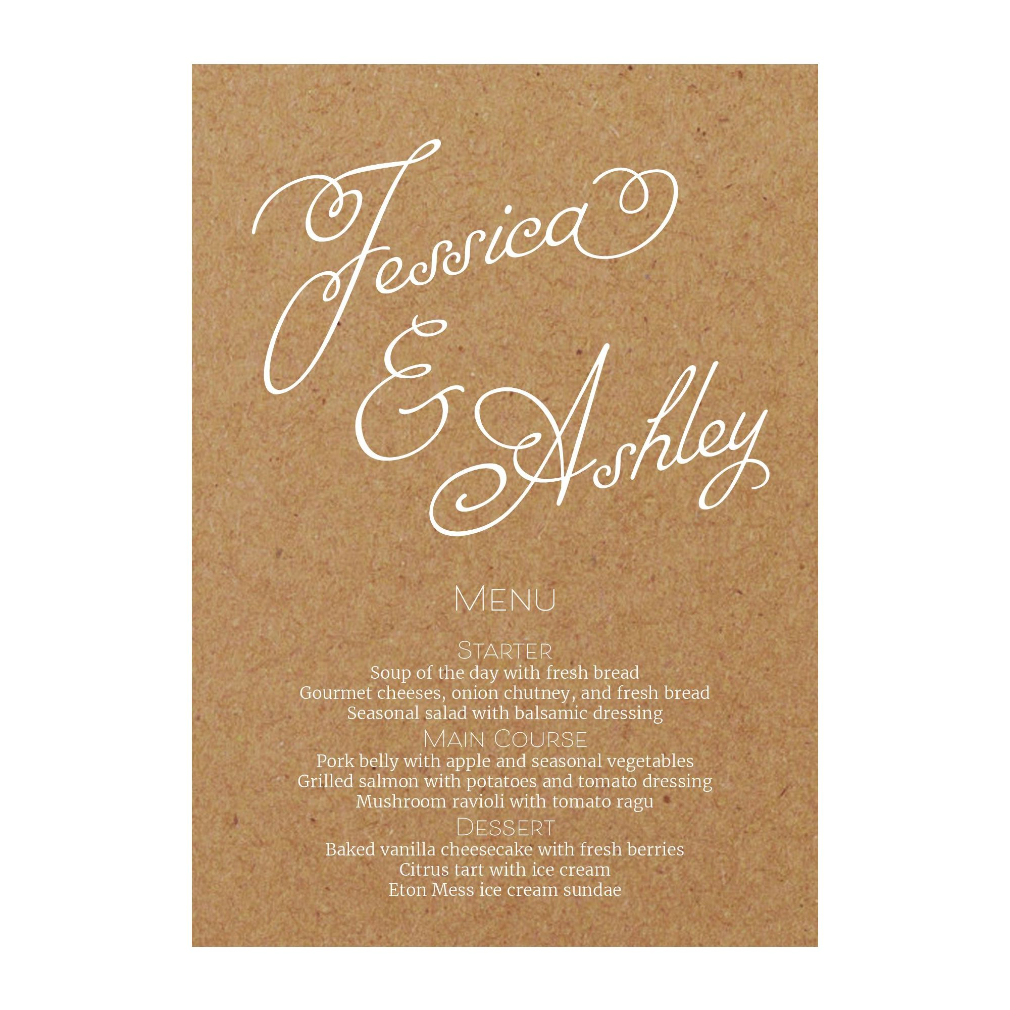 Recycled Brown Kraft with White Ink Classic Swirled Name Menu Cards