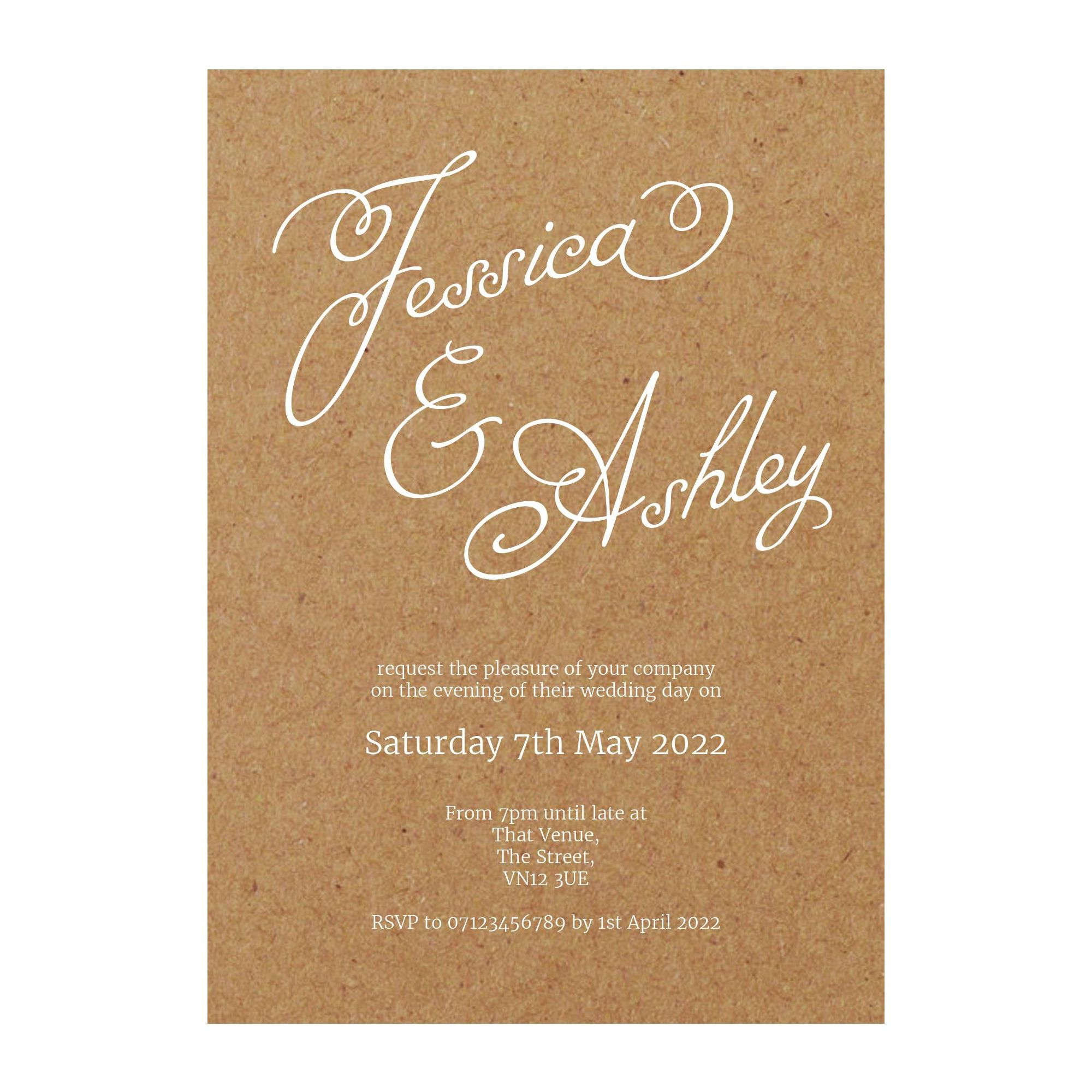Recycled Brown Kraft with White Ink Classic Swirled Name Reception Invitations