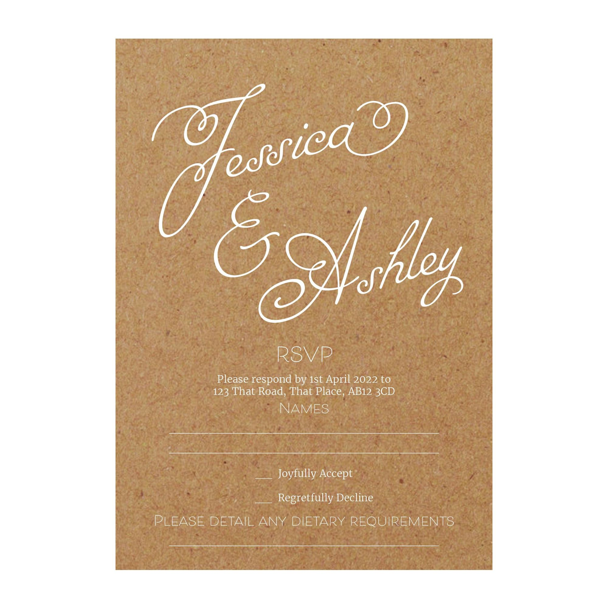 Recycled Brown Kraft with White Ink Classic Swirled Name RSVP Dietary Requirement Cards