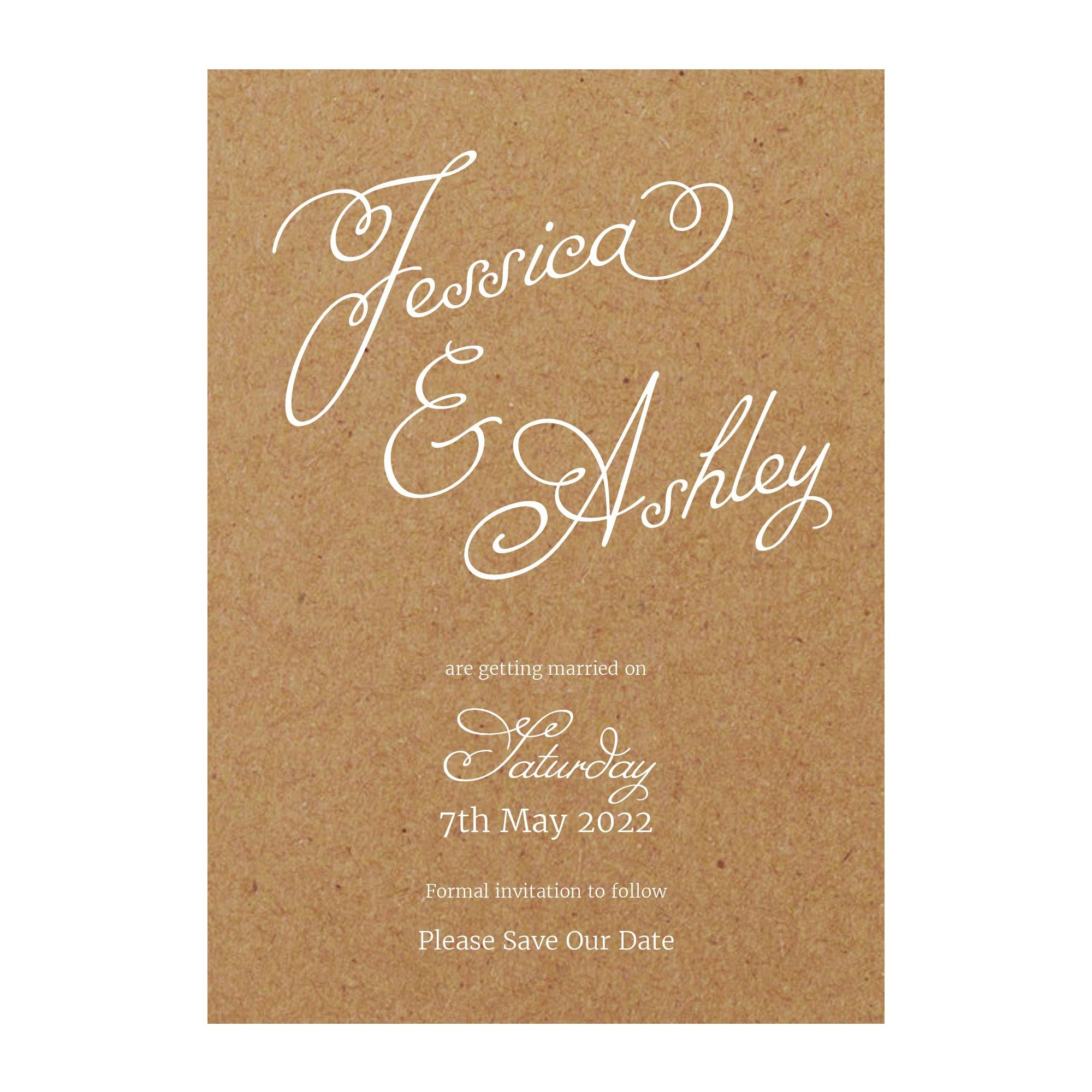 Recycled Brown Kraft with White Ink Classic Swirled Name Save the Date Cards