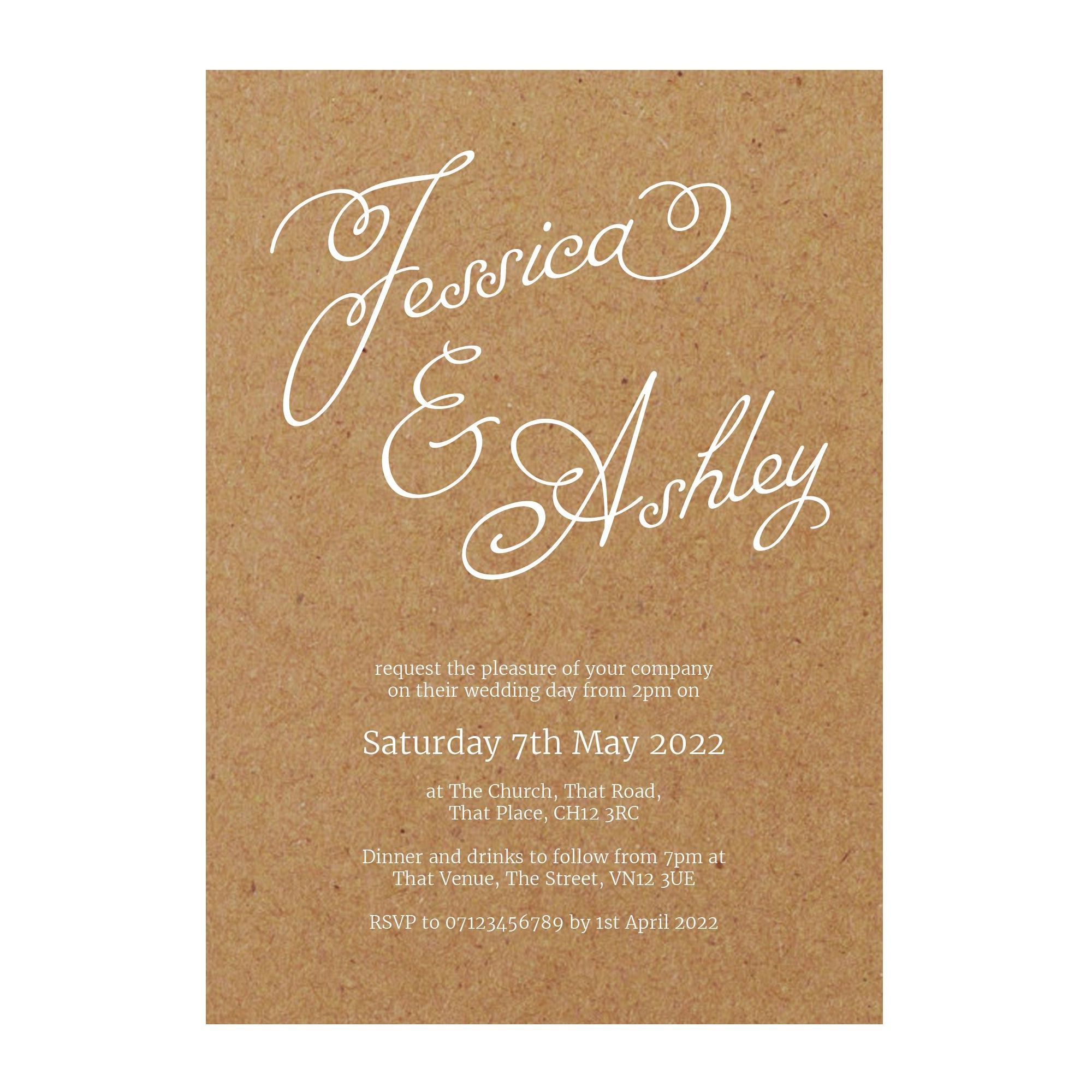 Recycled Brown Kraft with White Ink Classic Swirled Name Wedding Invitations
