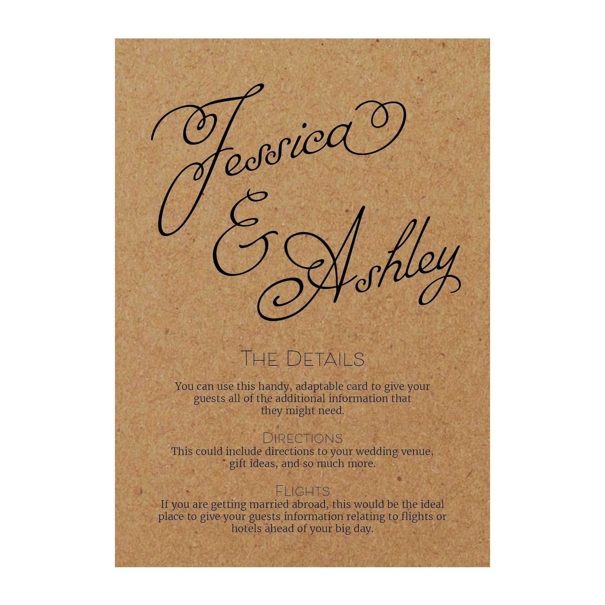 Recycled Brown Kraft Classic Swirled Name Guest Information Cards