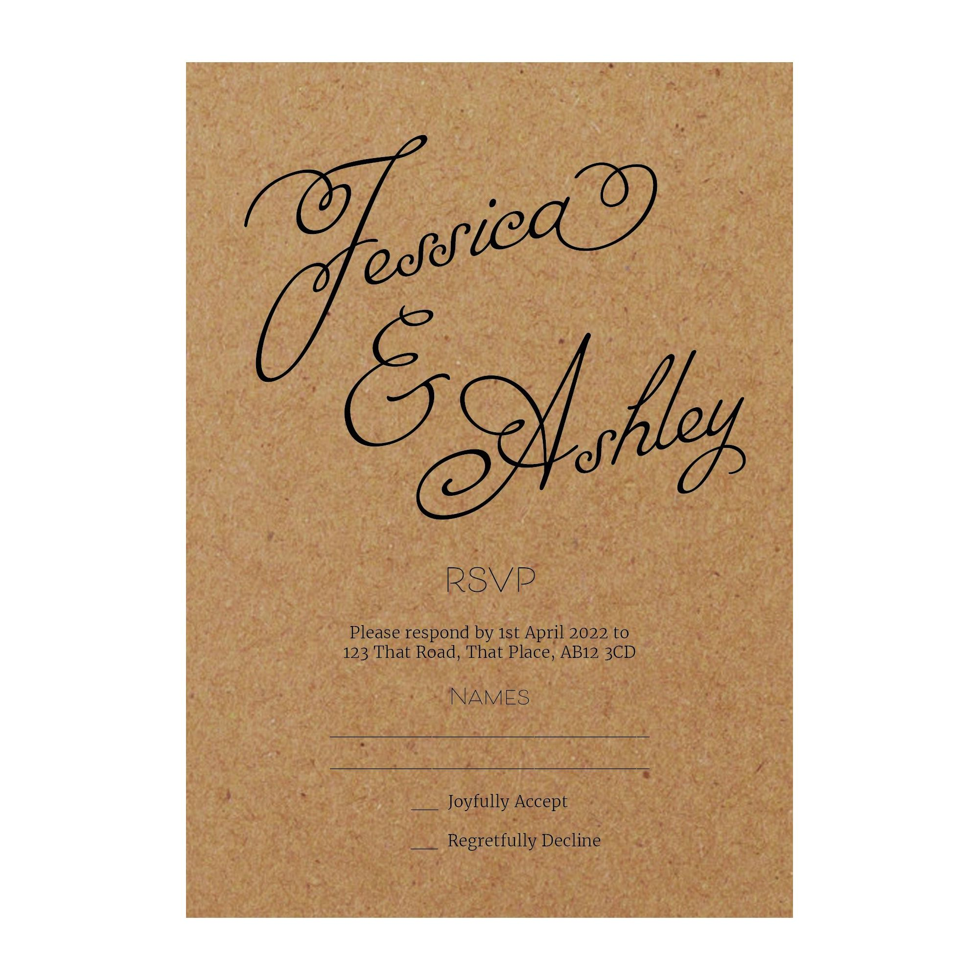 Recycled Brown Kraft Classic Swirled Name RSVP Cards