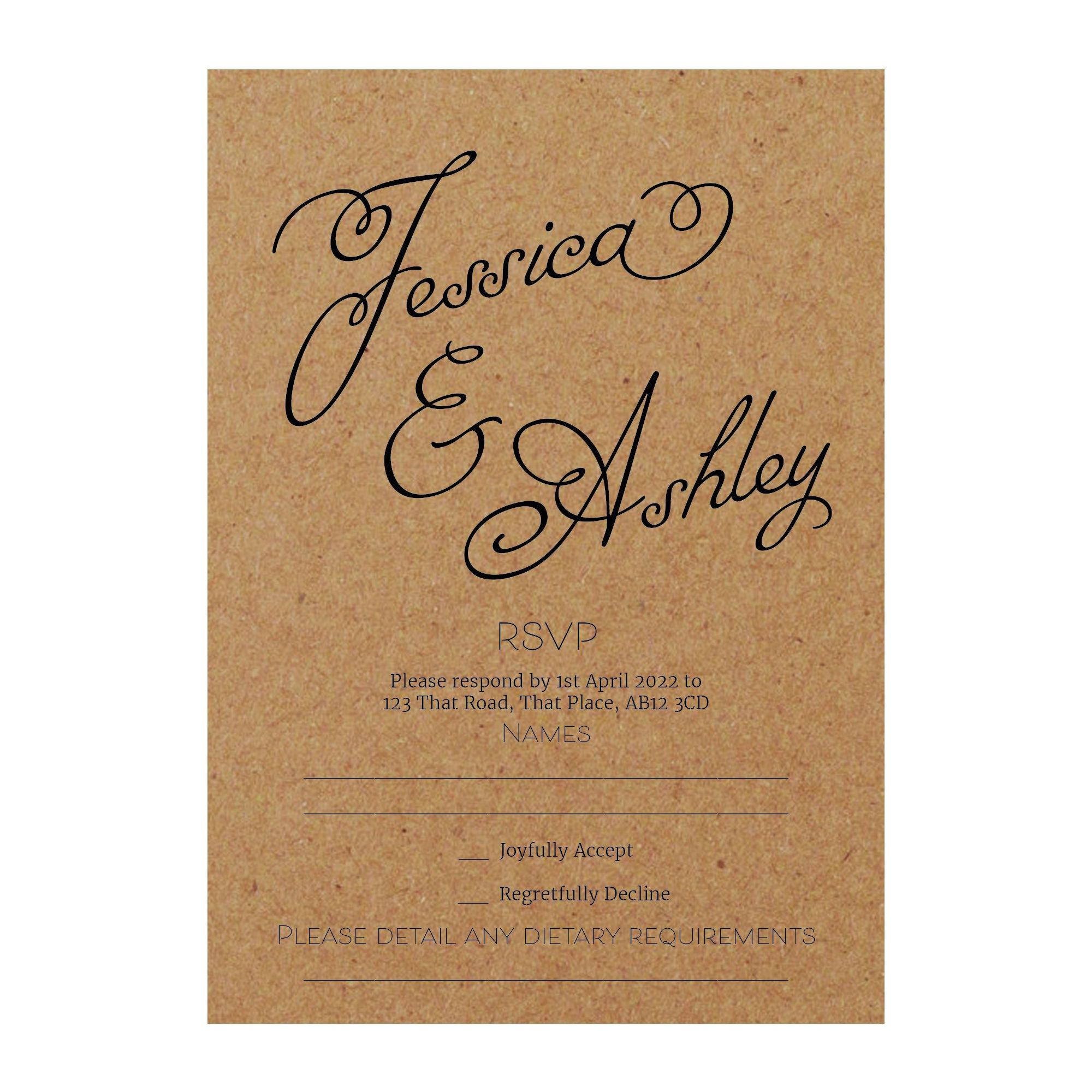 Recycled Brown Kraft Classic Swirled Name RSVP Dietary Requirement Cards