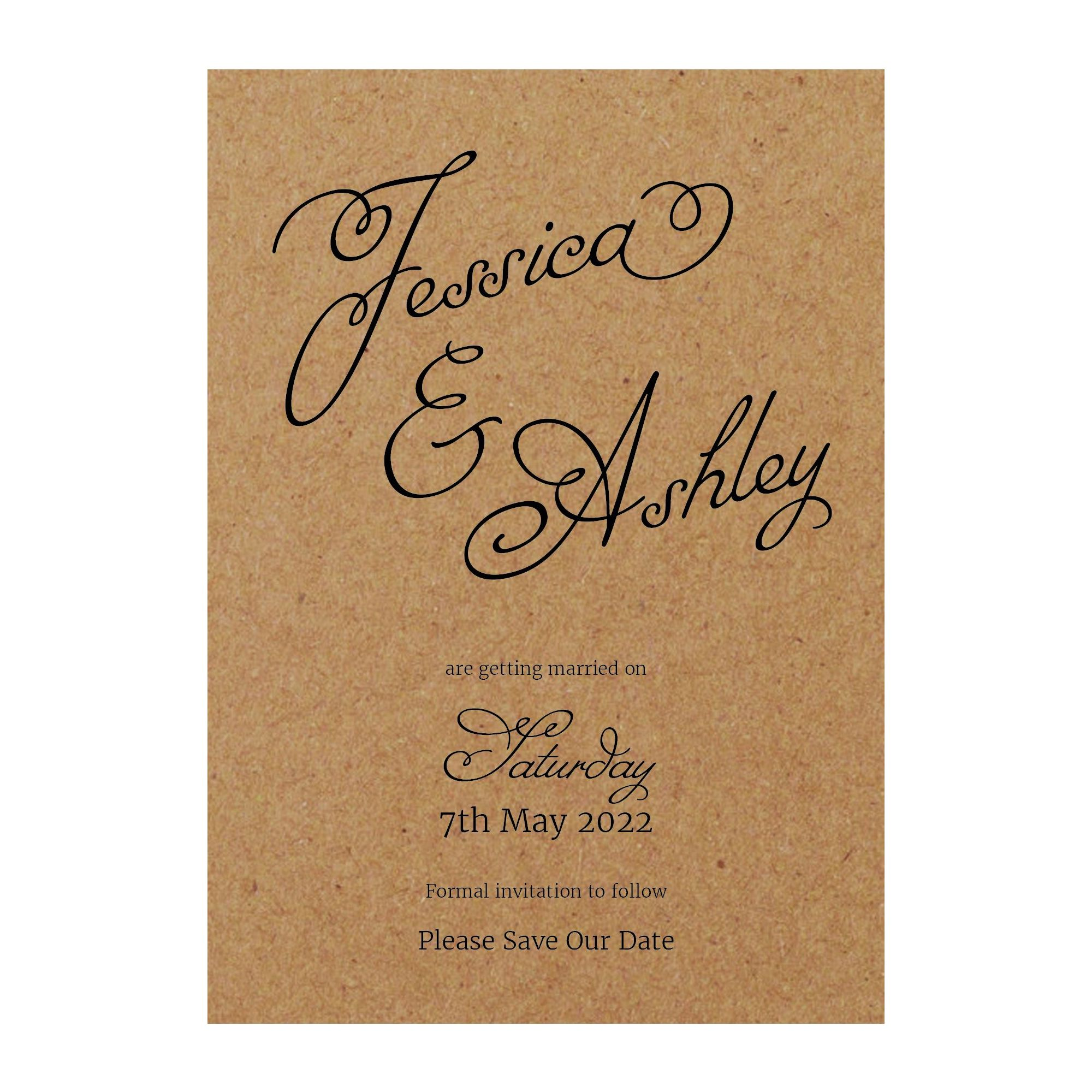 Recycled Brown Kraft Classic Swirled Name Save the Date Cards