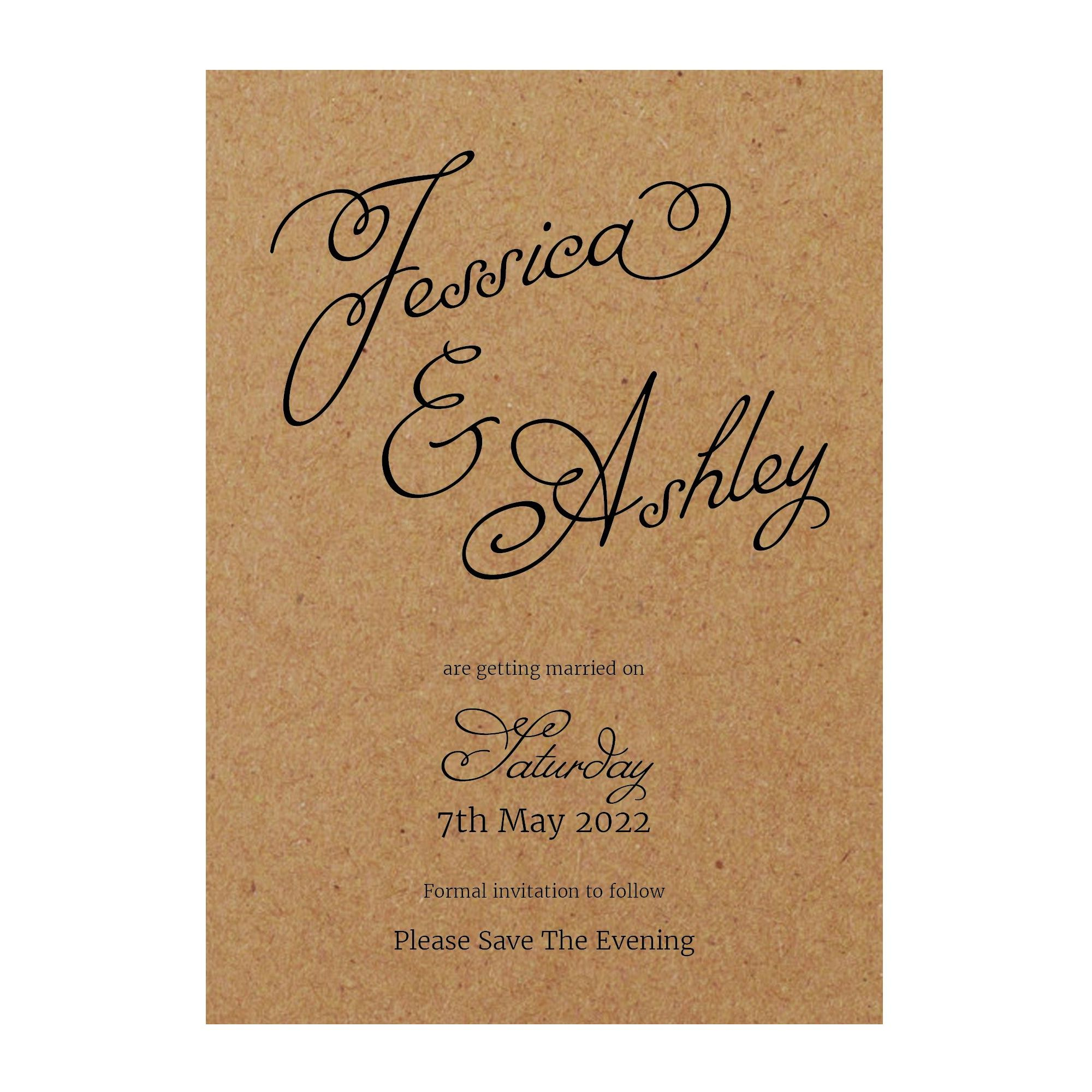 Recycled Brown Kraft Classic Swirled Name Save the Evening Cards