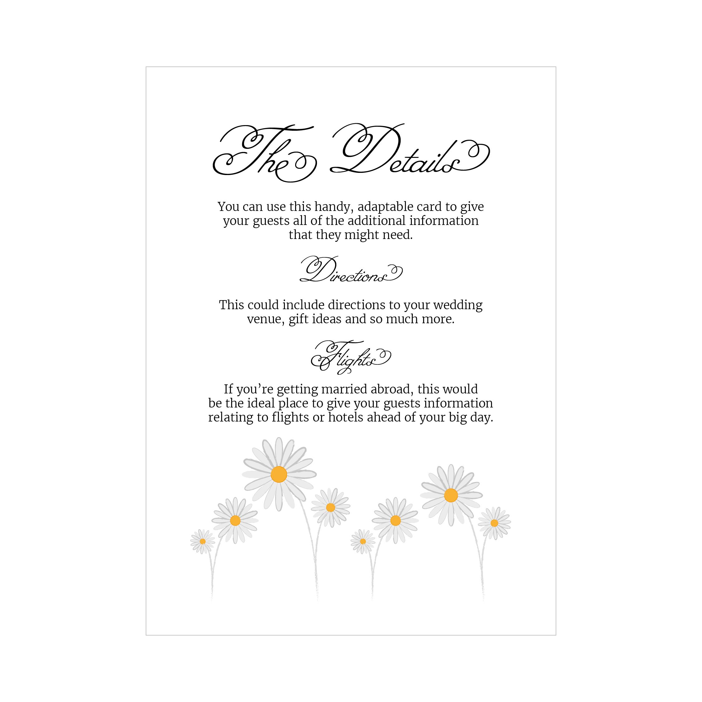 Textured White Daisies Guest Information Cards
