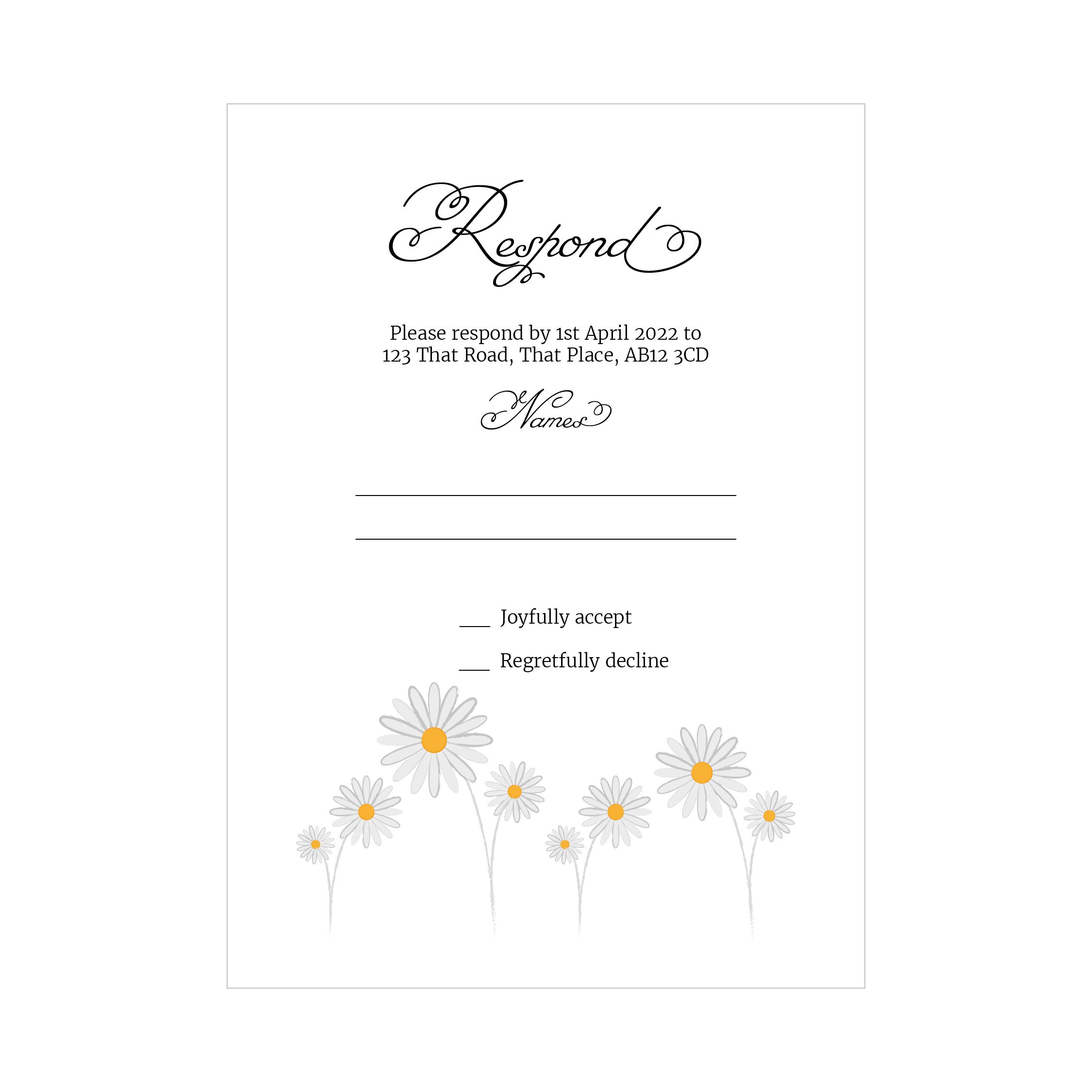 Textured White Daisies RSVP Cards