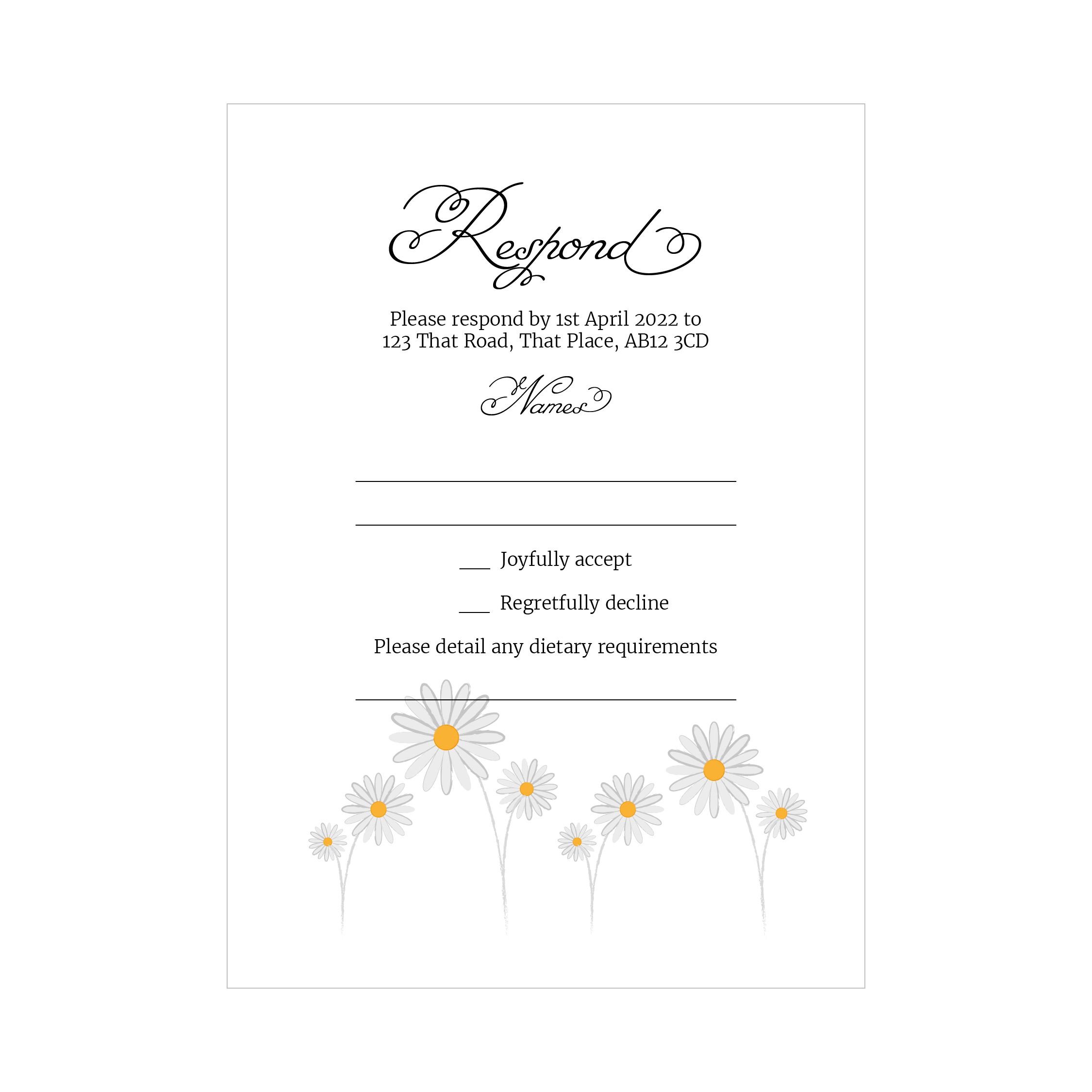 Textured White Daisies RSVP Dietary Requirement Cards