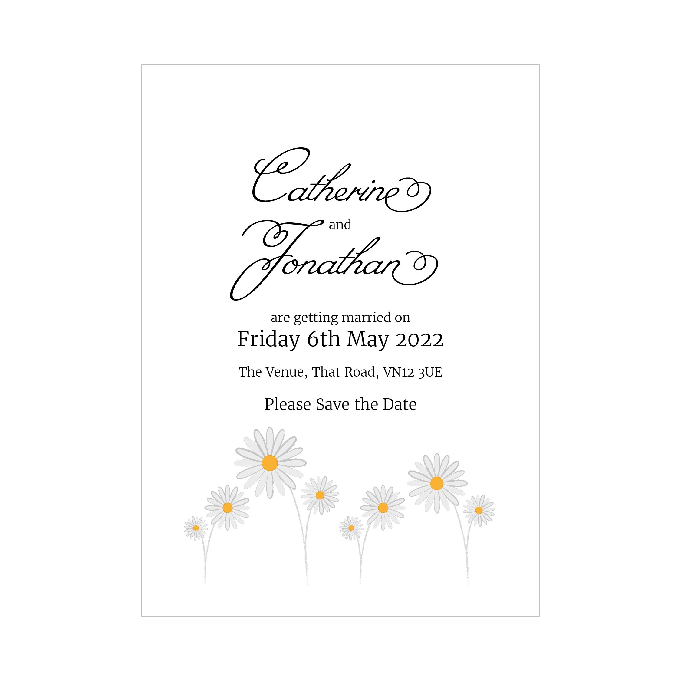 Textured White Daisies Save the Date Cards