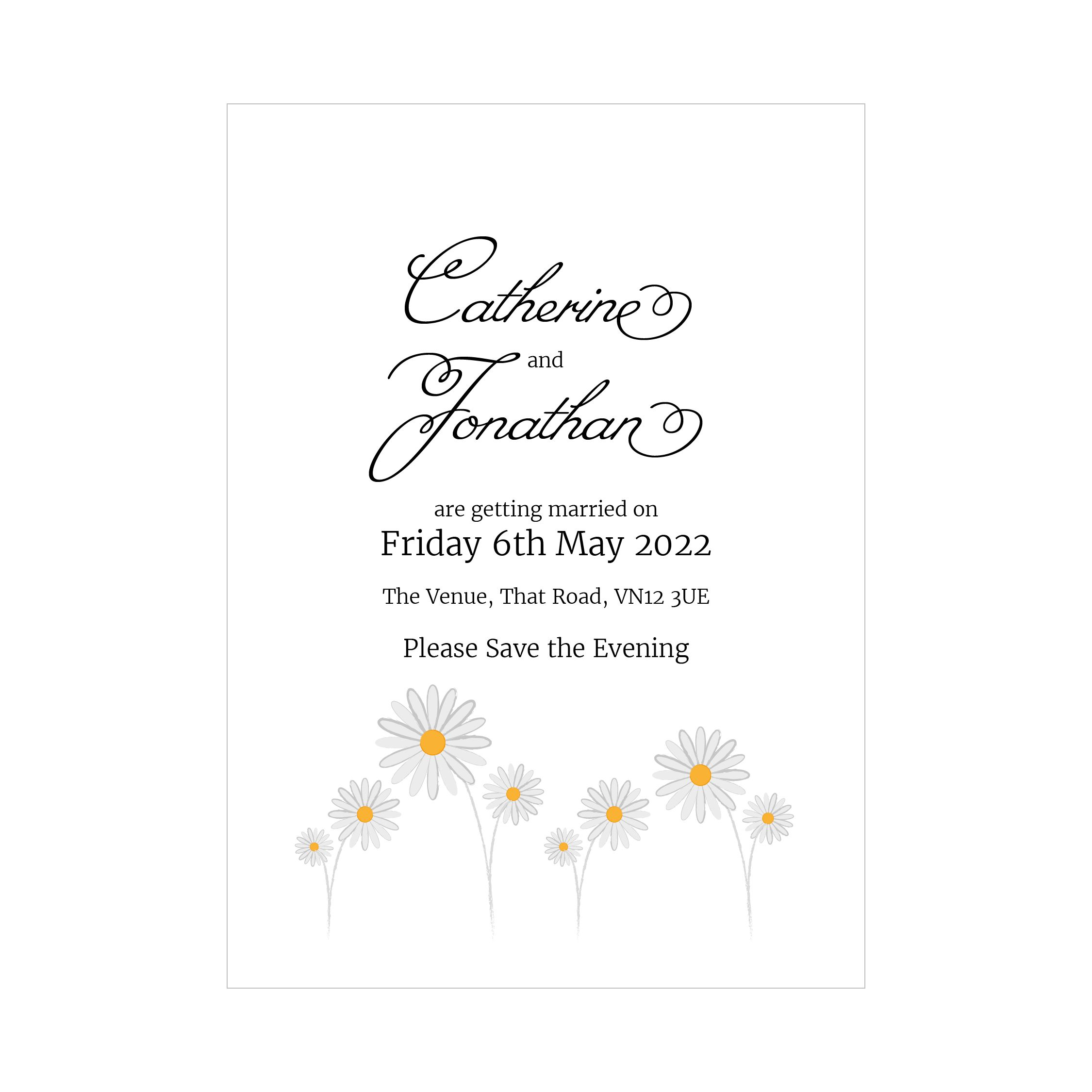 Textured White Daisies Save the Evening Cards