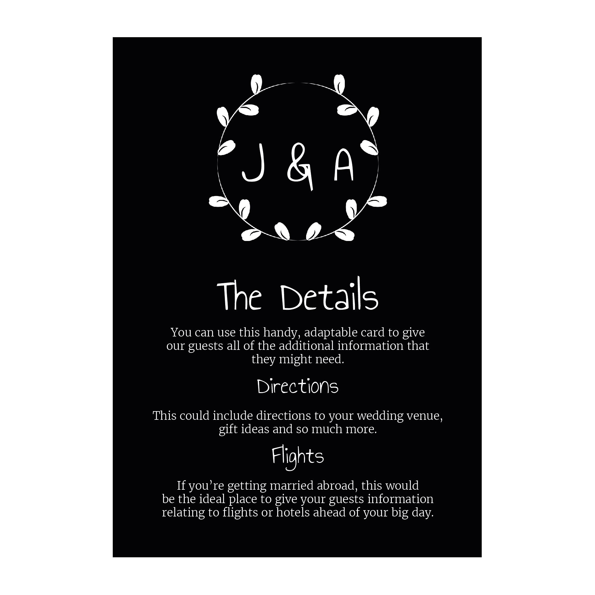 Black with White Ink Minimalist Floral Guest Information Cards