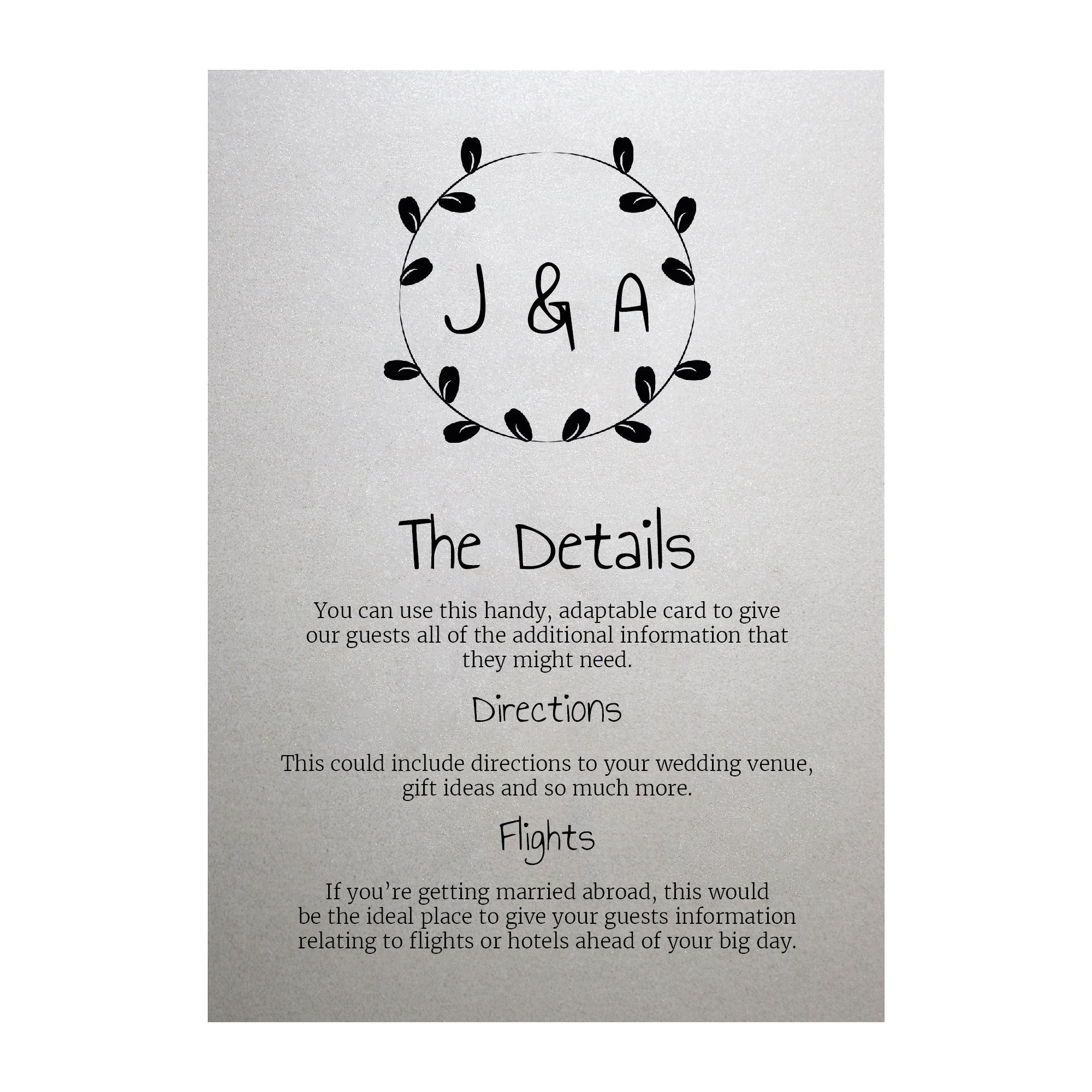 Shimmer Arctic White Minimalist Floral Guest Information Cards