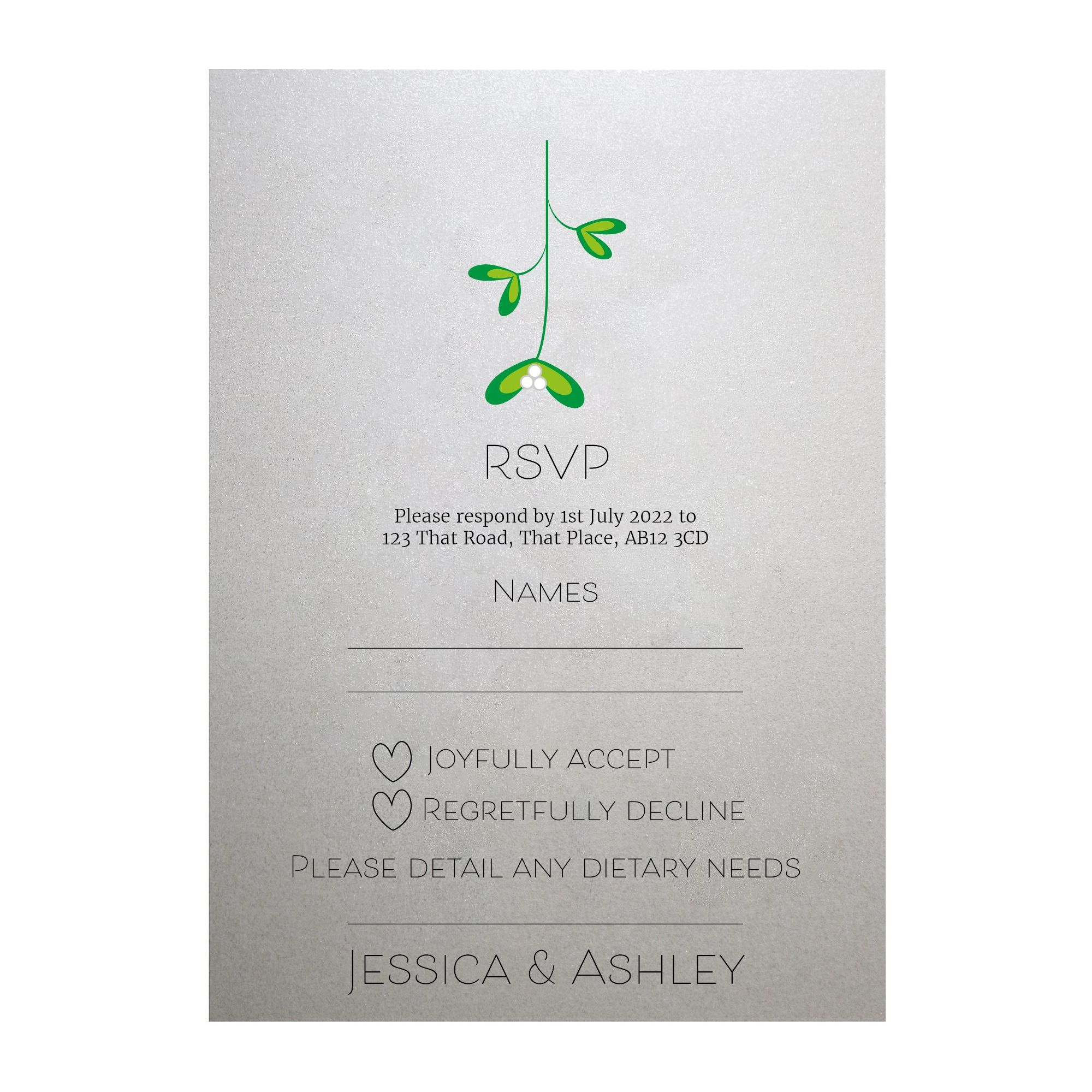 Shimmer Arctic White Mistletoe Christmas RSVP Dietary Requirement Cards
