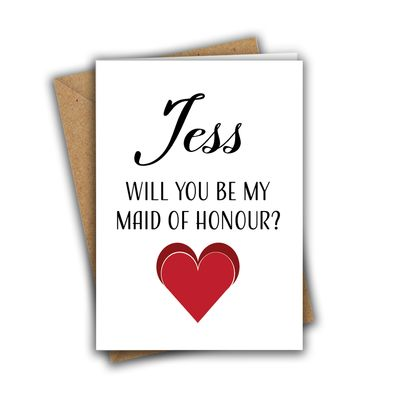 Personalised Will You Be My Maid of Honour Sweet Heart Bridesmaid Proposal A5 Greeting Card